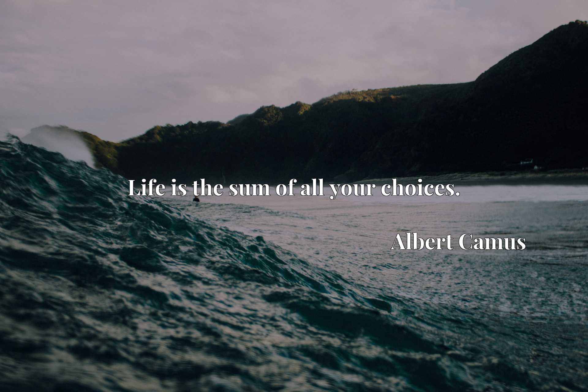 Quote Picture :Life is the sum of all your choices.