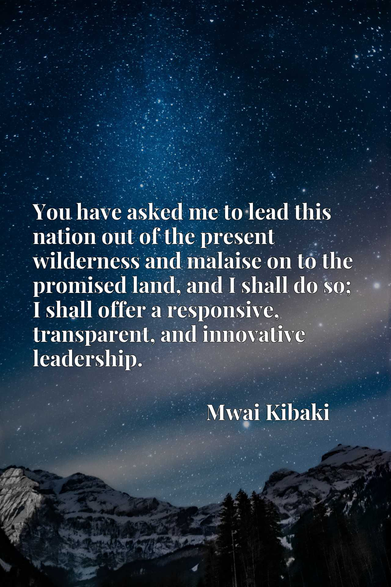 Quote Picture :You have asked me to lead this nation out of the present wilderness and malaise on to the promised land, and I shall do so; I shall offer a responsive, transparent, and innovative leadership.