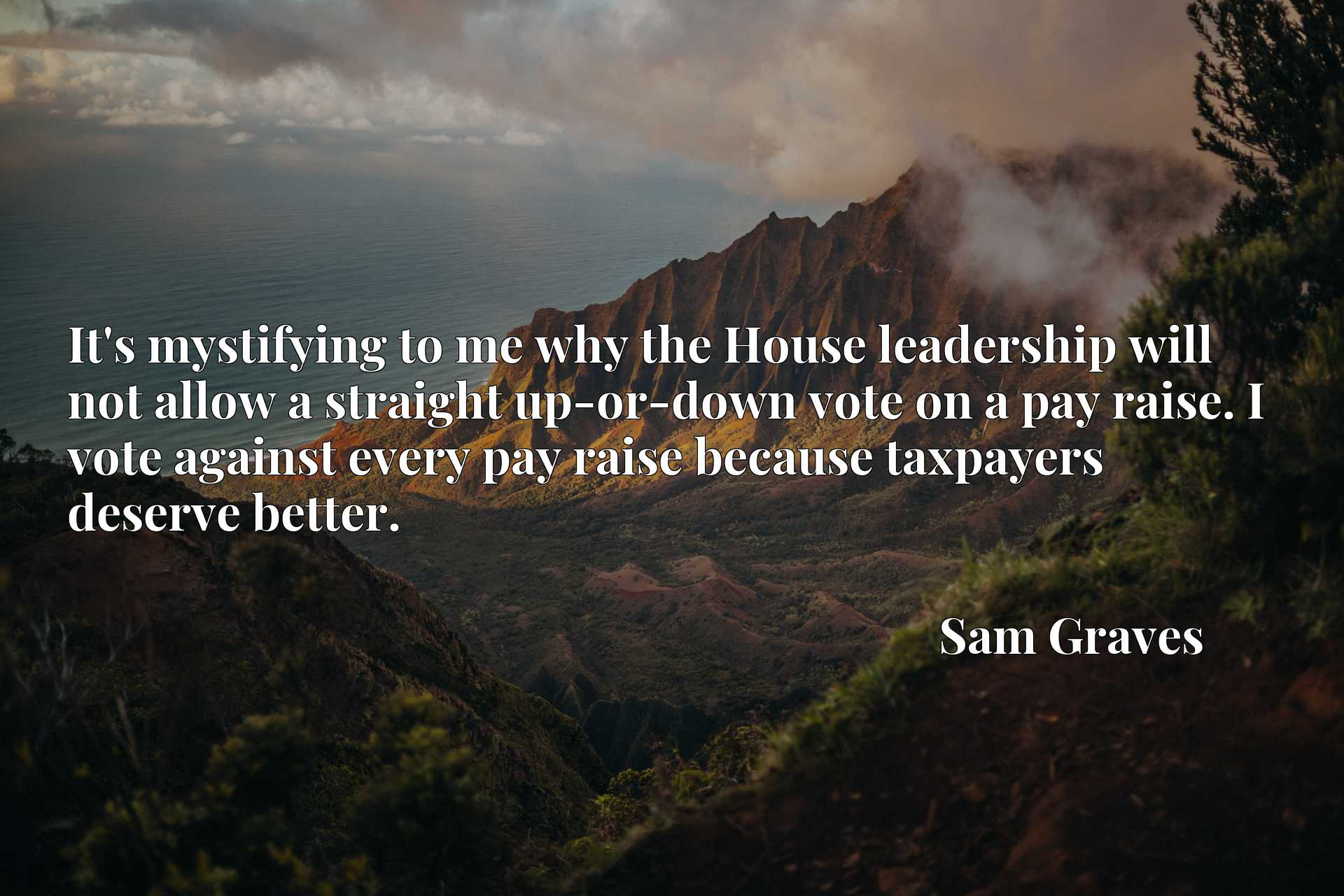 Quote Picture :It's mystifying to me why the House leadership will not allow a straight up-or-down vote on a pay raise. I vote against every pay raise because taxpayers deserve better.