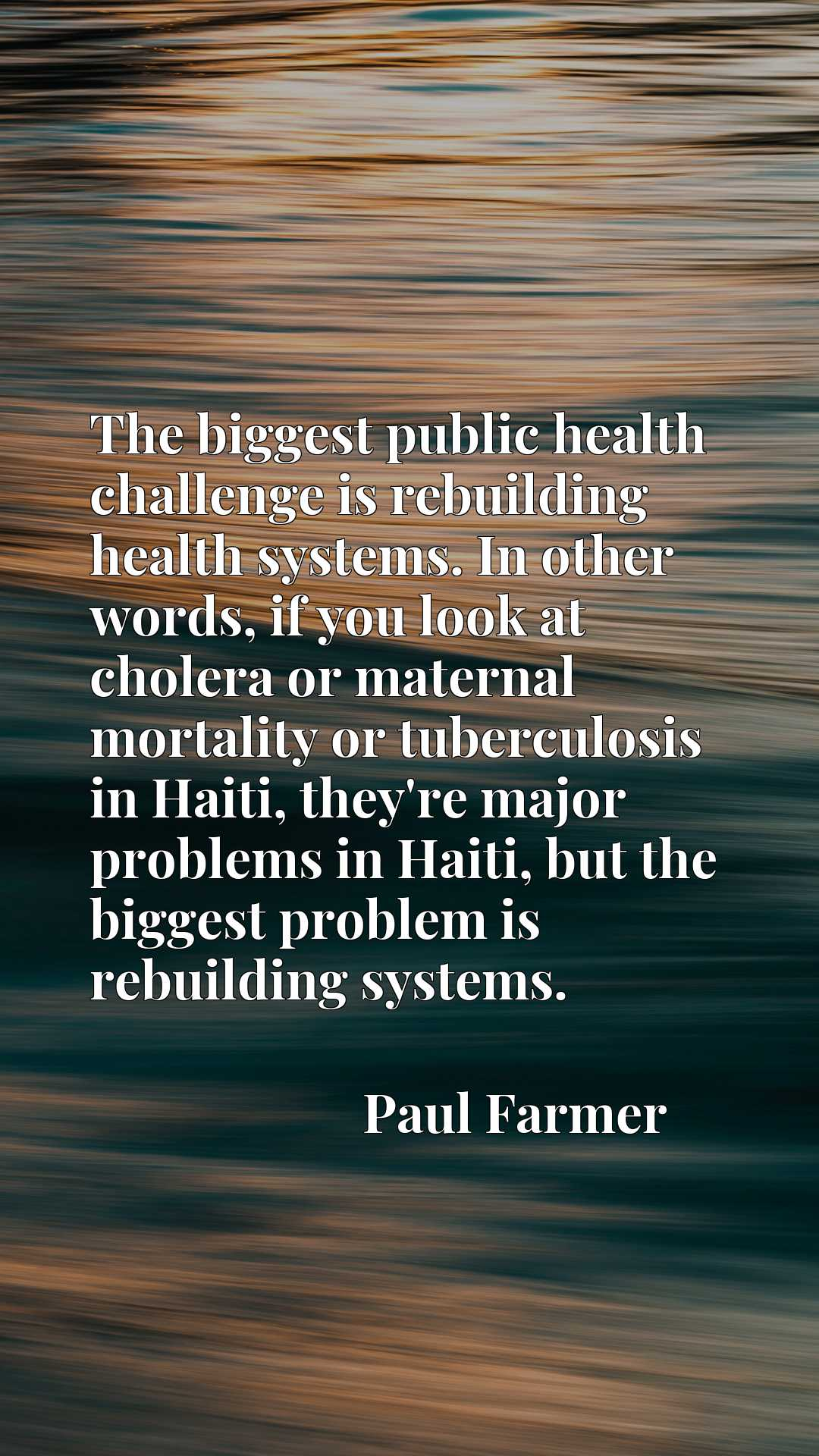 The biggest public health challenge is rebuilding health systems. In other words, if you look at cholera or maternal mortality or tuberculosis in Haiti, they're major problems in Haiti, but the biggest problem is rebuilding systems.