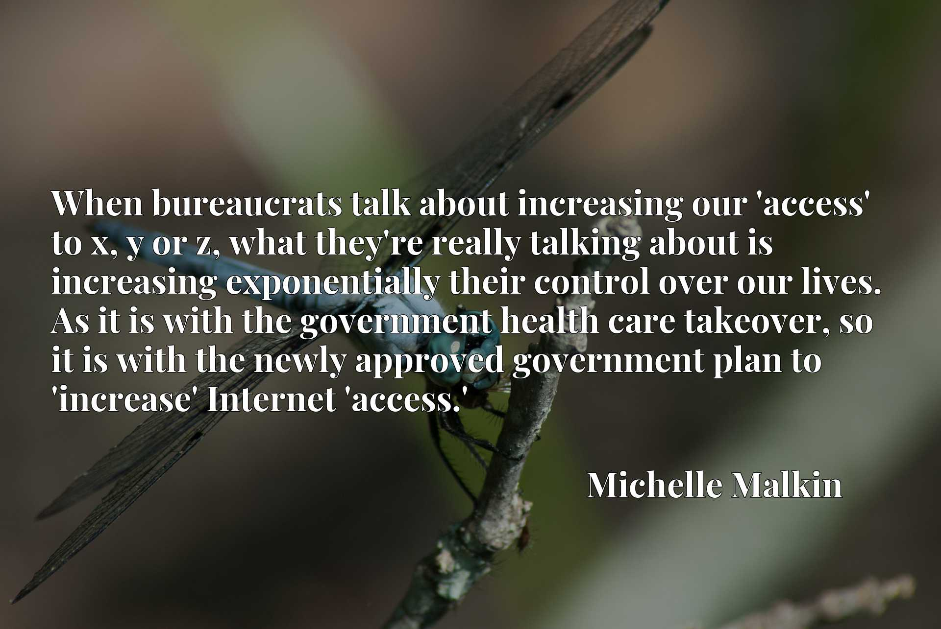 When bureaucrats talk about increasing our 'access' to x, y or z, what they're really talking about is increasing exponentially their control over our lives. As it is with the government health care takeover, so it is with the newly approved government plan to 'increase' Internet 'access.'