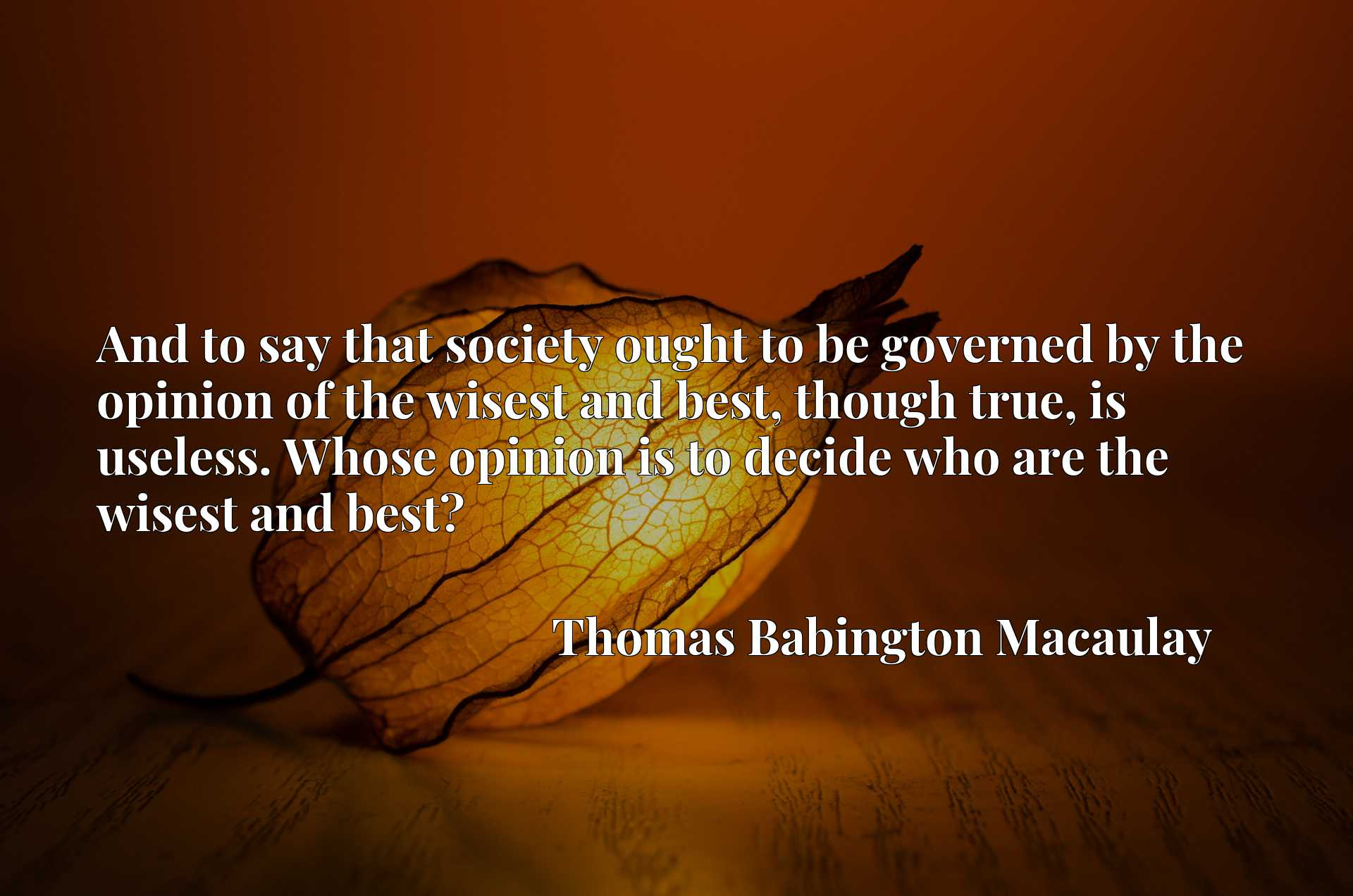 And to say that society ought to be governed by the opinion of the wisest and best, though true, is useless. Whose opinion is to decide who are the wisest and best?