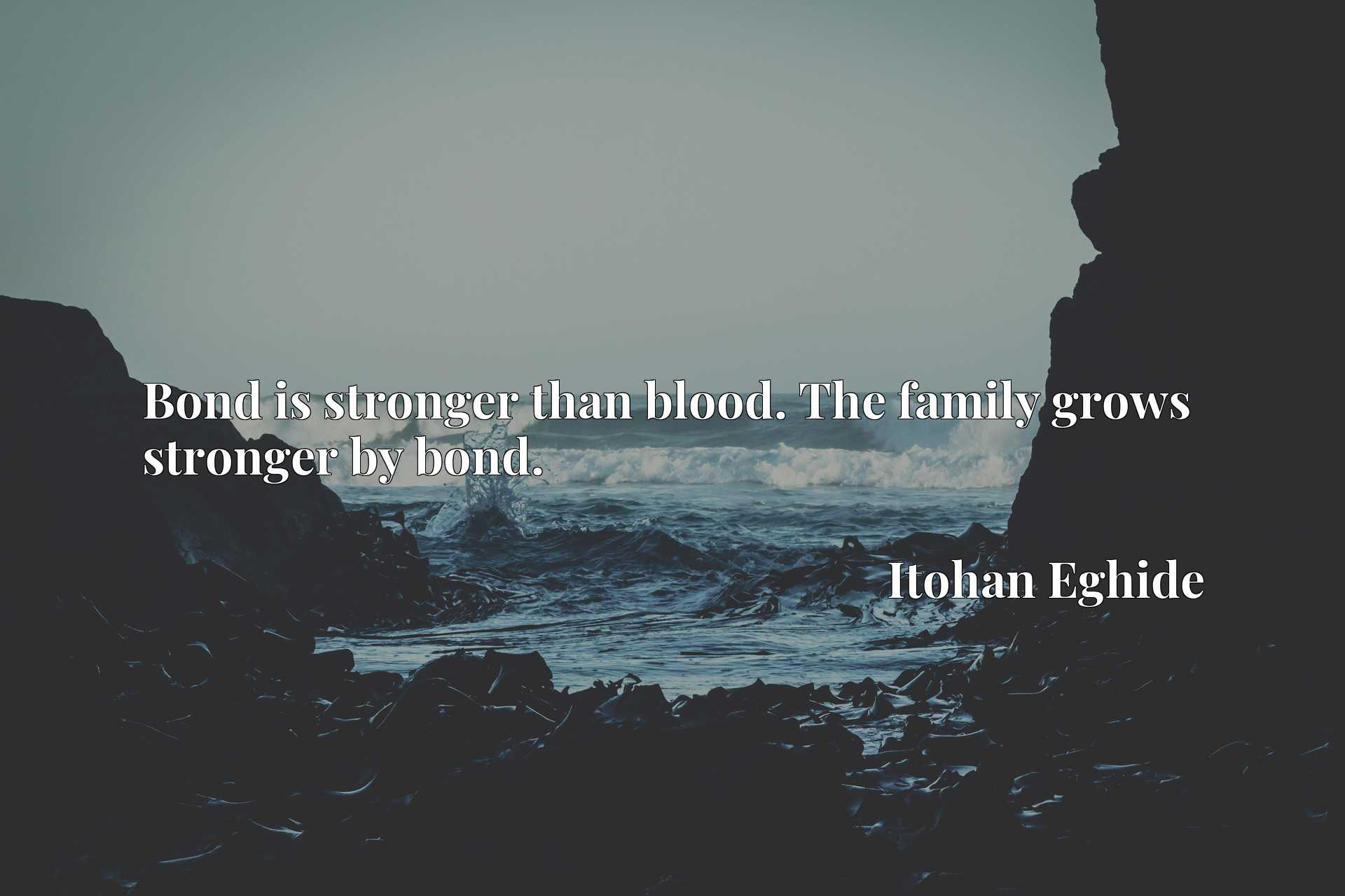 Bond is stronger than blood. The family grows stronger by bond.