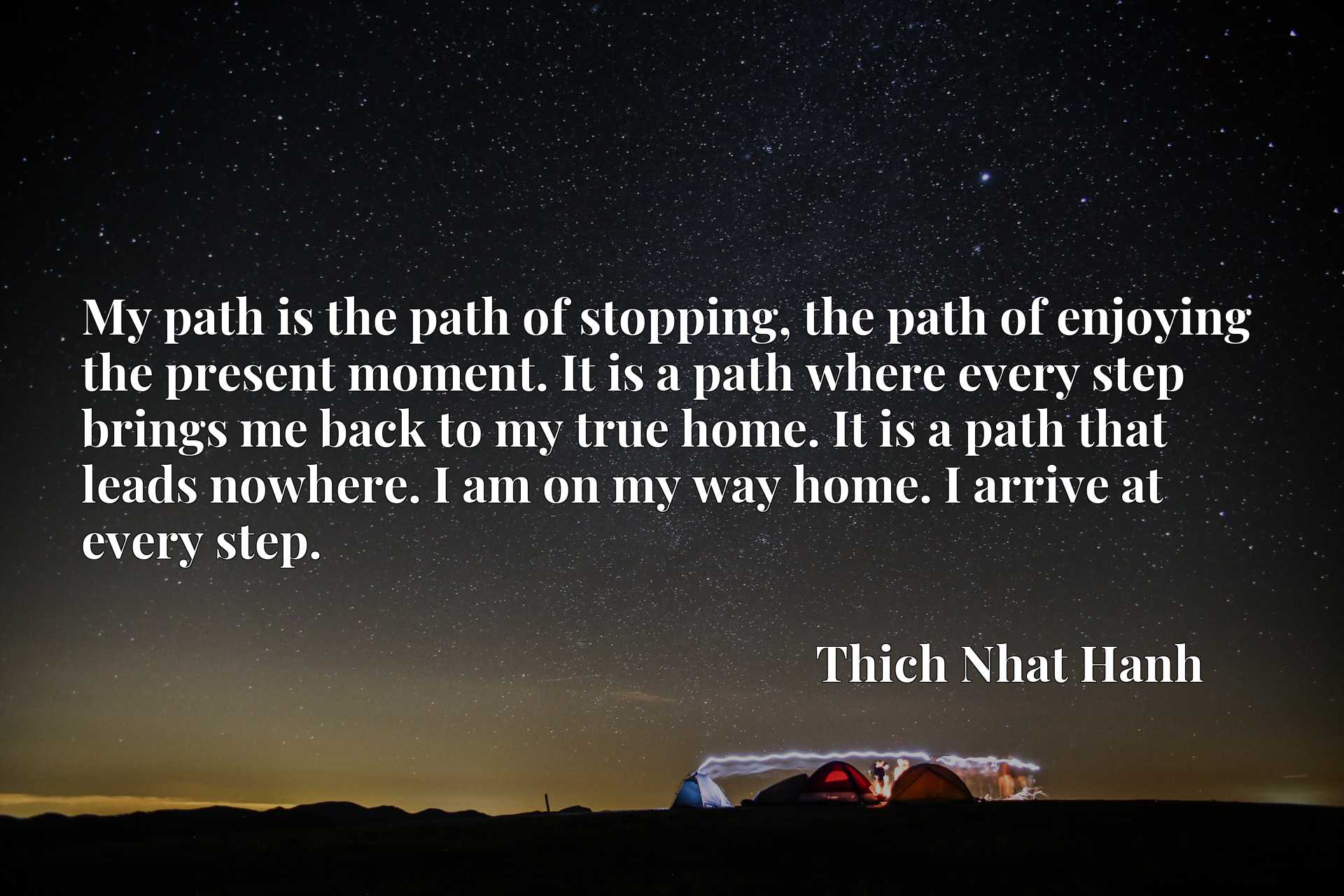 My path is the path of stopping, the path of enjoying the present moment. It is a path where every step brings me back to my true home. It is a path that leads nowhere. I am on my way home. I arrive at every step.