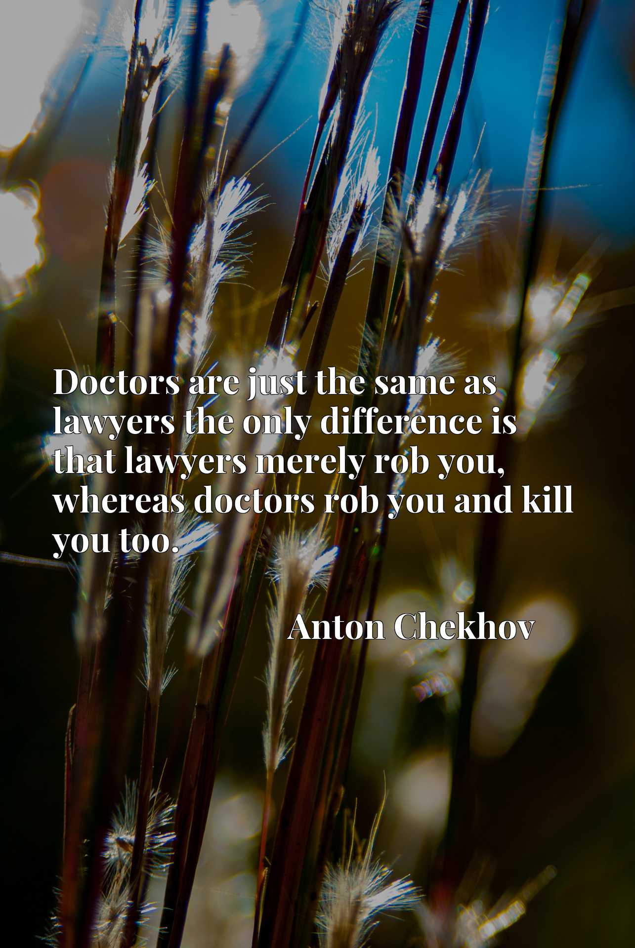 Doctors are just the same as lawyers the only difference is that lawyers merely rob you, whereas doctors rob you and kill you too.