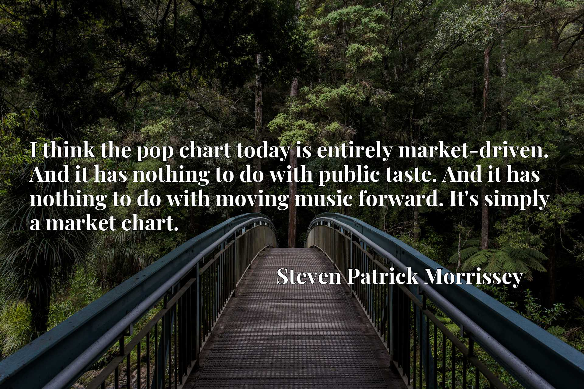 I think the pop chart today is entirely market-driven. And it has nothing to do with public taste. And it has nothing to do with moving music forward. It's simply a market chart.