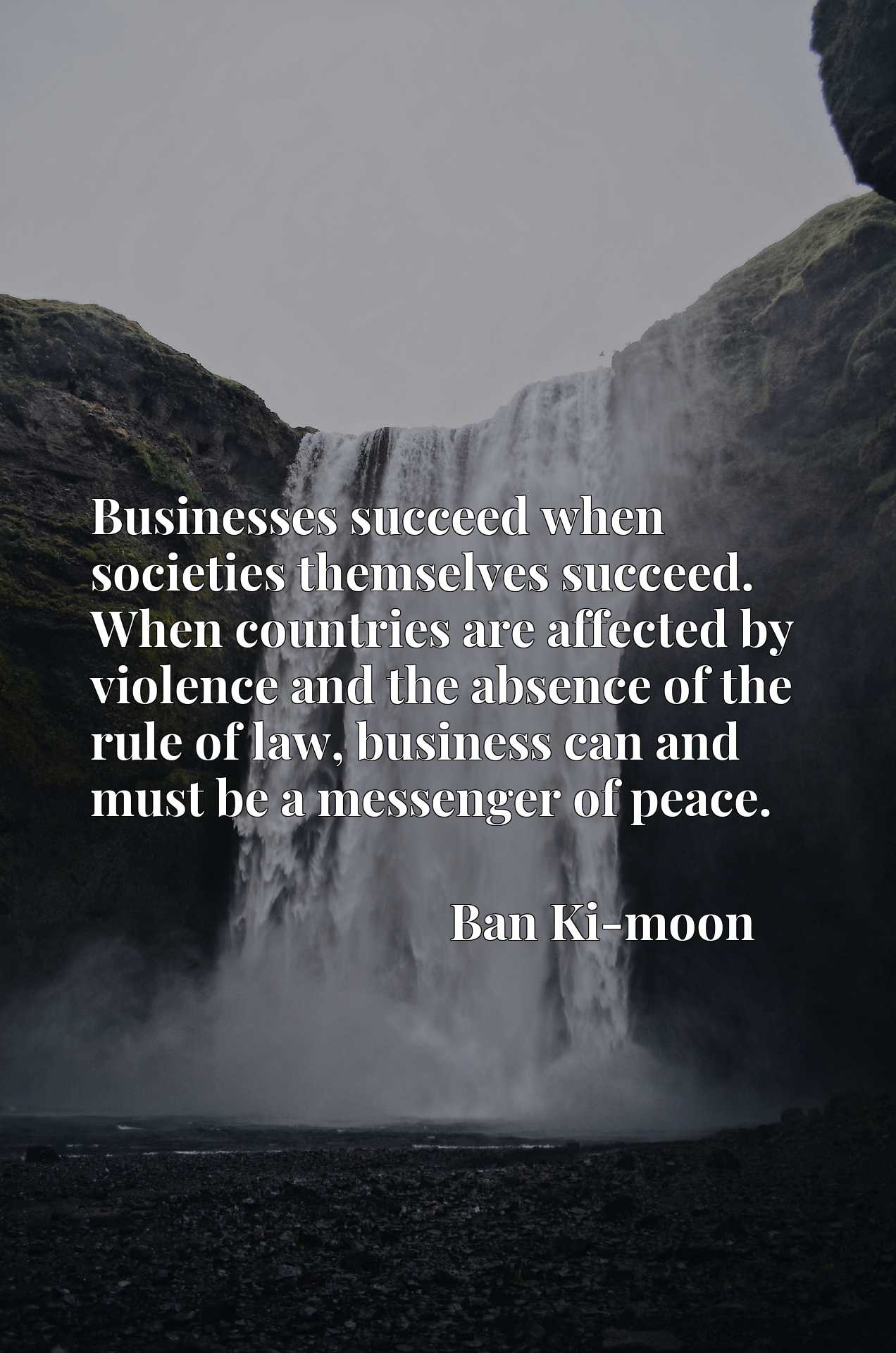 Businesses succeed when societies themselves succeed. When countries are affected by violence and the absence of the rule of law, business can and must be a messenger of peace.