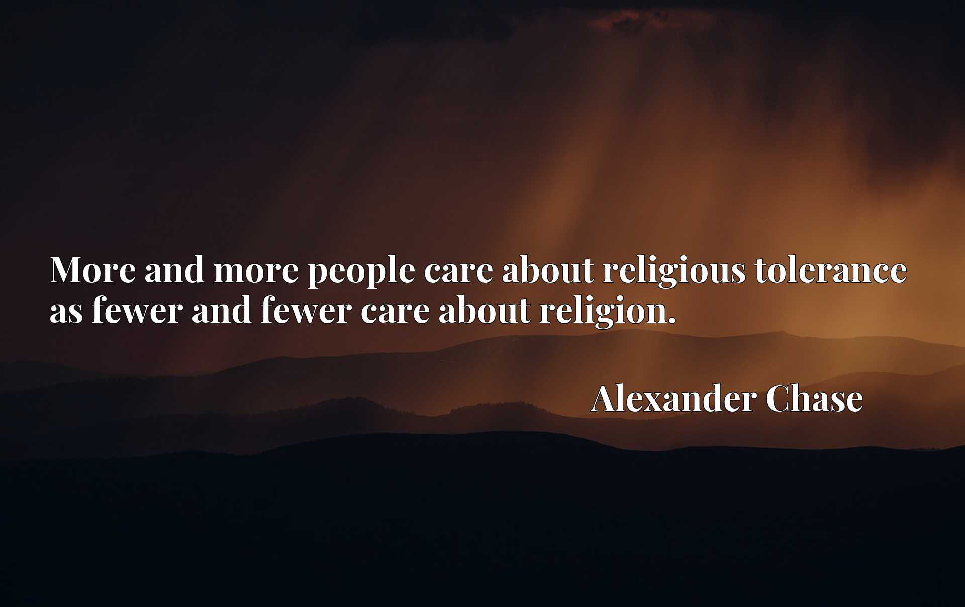 More and more people care about religious tolerance as fewer and fewer care about religion.