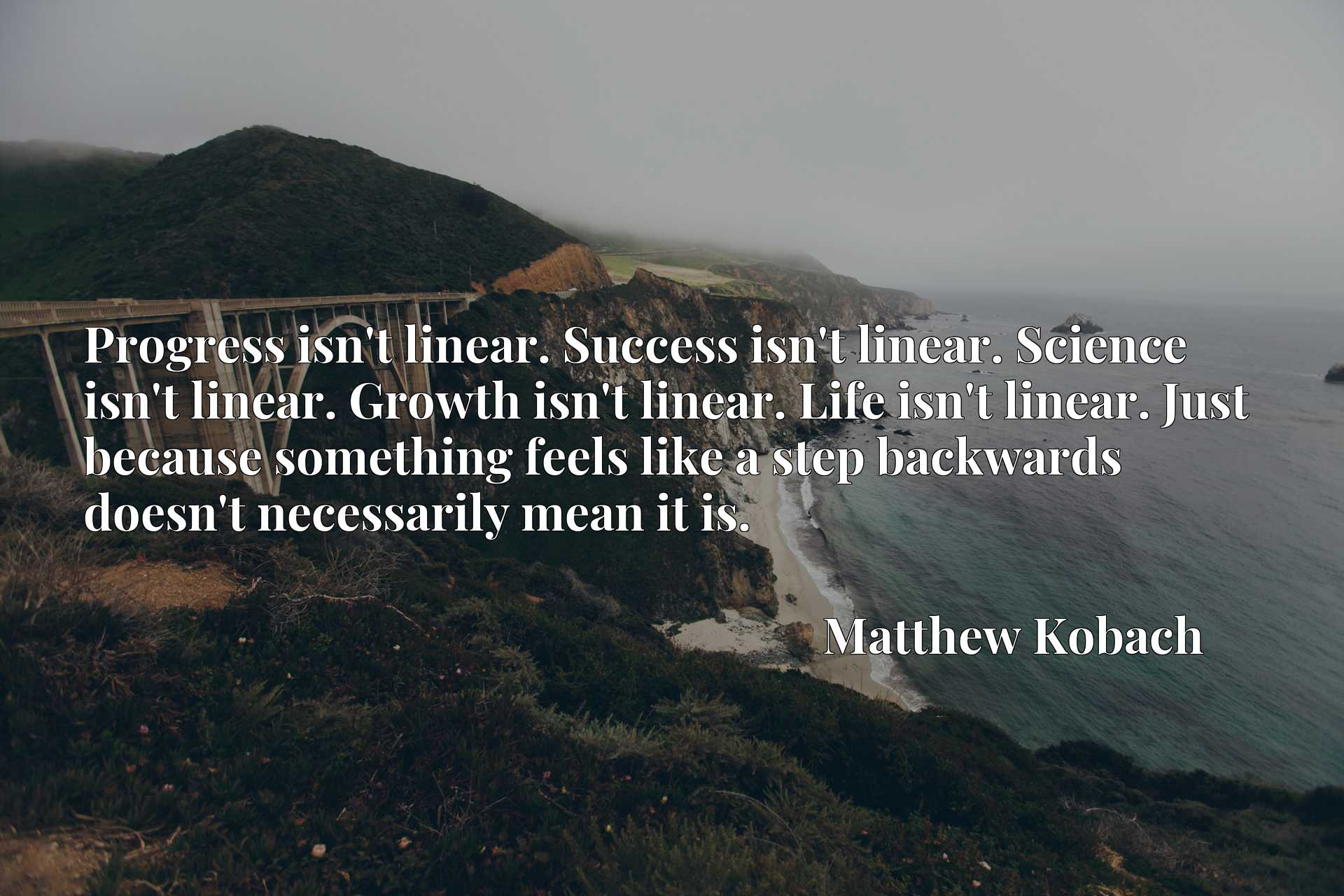 Progress isn't linear. Success isn't linear. Science isn't linear. Growth isn't linear. Life isn't linear. Just because something feels like a step backwards doesn't necessarily mean it is.