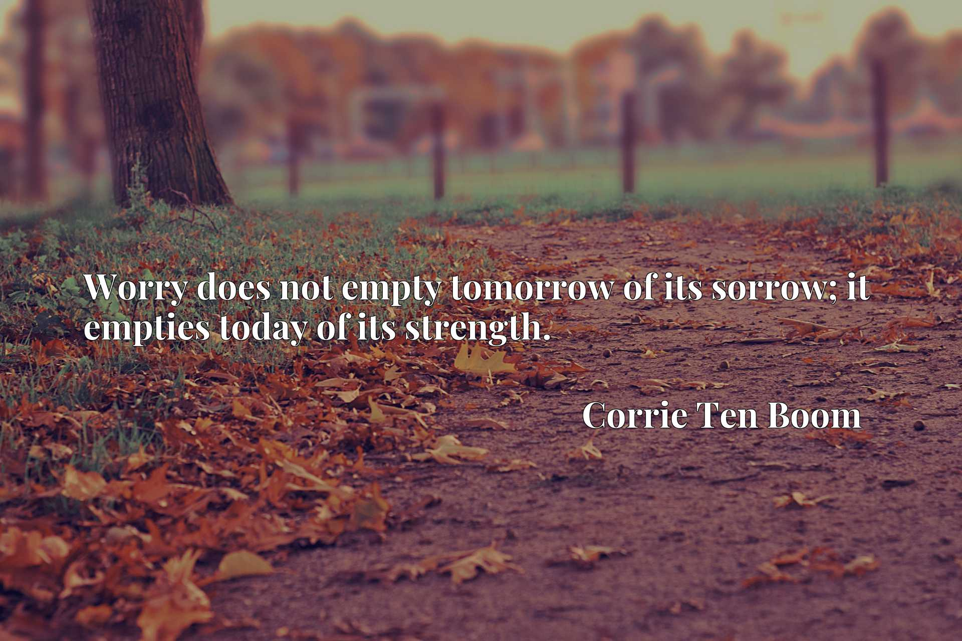 Worry does not empty tomorrow of its sorrow; it empties today of its strength.