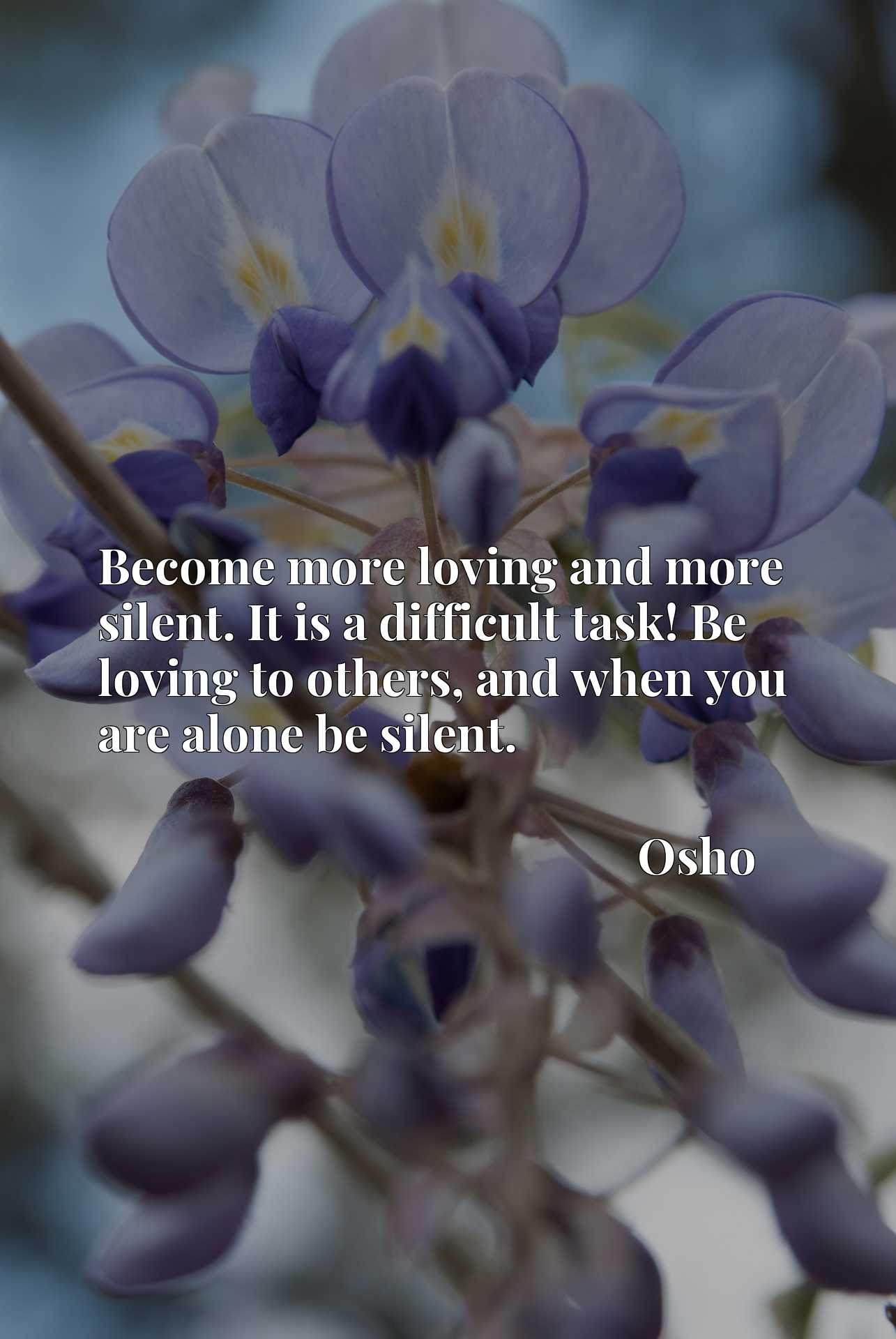 Become more loving and more silent. It is a difficult task! Be loving to others, and when you are alone be silent.