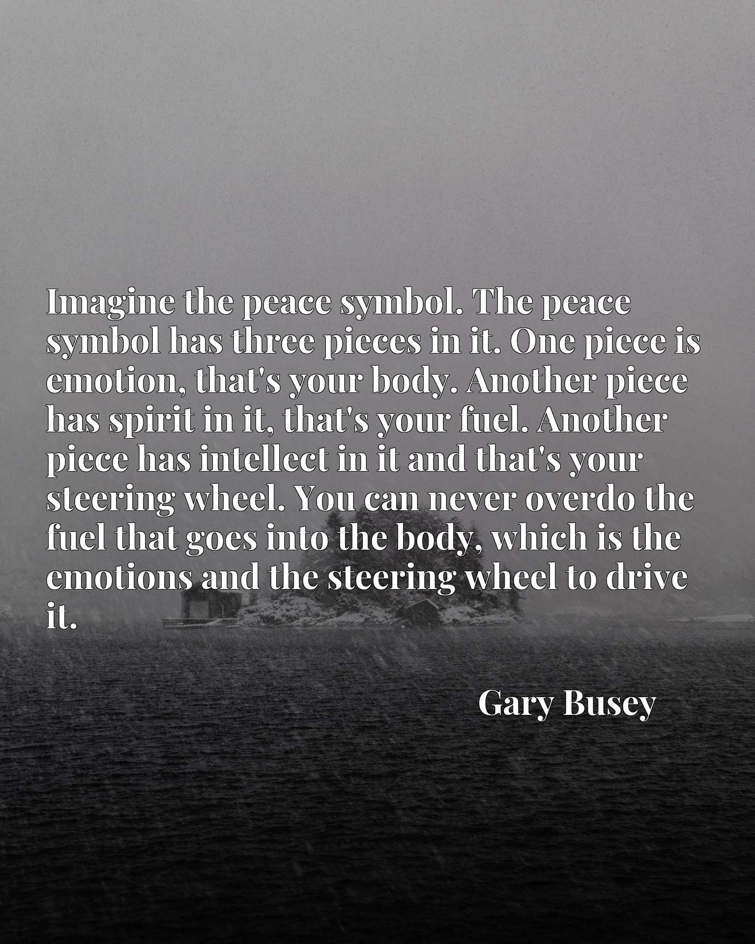 Imagine the peace symbol. The peace symbol has three pieces in it. One piece is emotion, that's your body. Another piece has spirit in it, that's your fuel. Another piece has intellect in it and that's your steering wheel. You can never overdo the fuel that goes into the body, which is the emotions and the steering wheel to drive it.