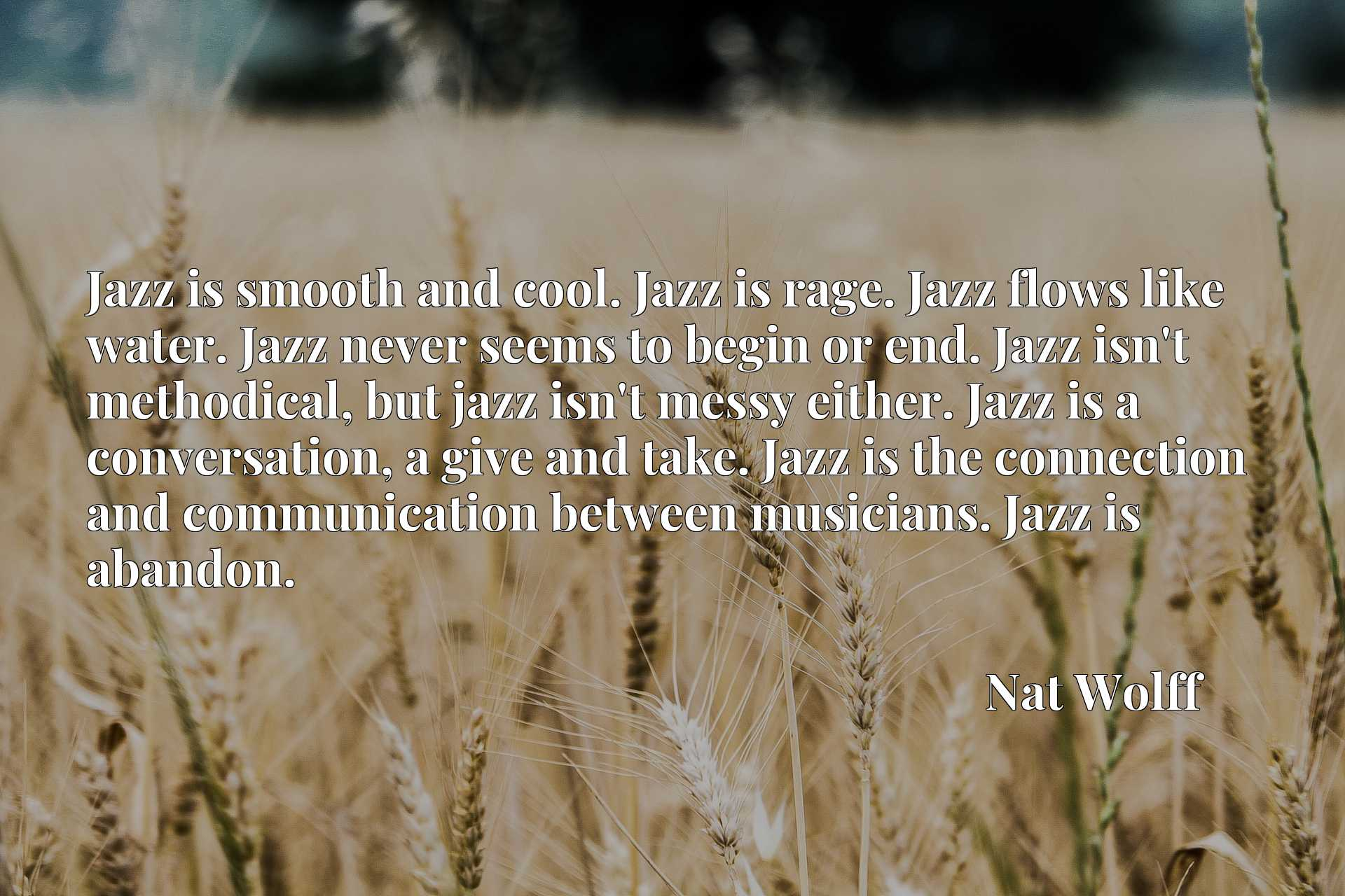 Jazz is smooth and cool. Jazz is rage. Jazz flows like water. Jazz never seems to begin or end. Jazz isn't methodical, but jazz isn't messy either. Jazz is a conversation, a give and take. Jazz is the connection and communication between musicians. Jazz is abandon.