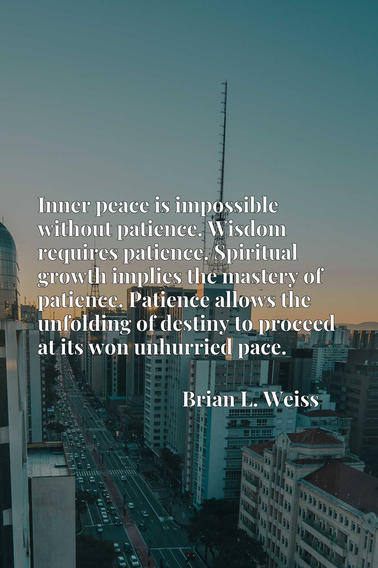 Inner peace is impossible without patience. Wisdom requires patience. Spiritual growth implies the mastery of patience. Patience allows the unfolding of destiny to proceed at its won unhurried pace.