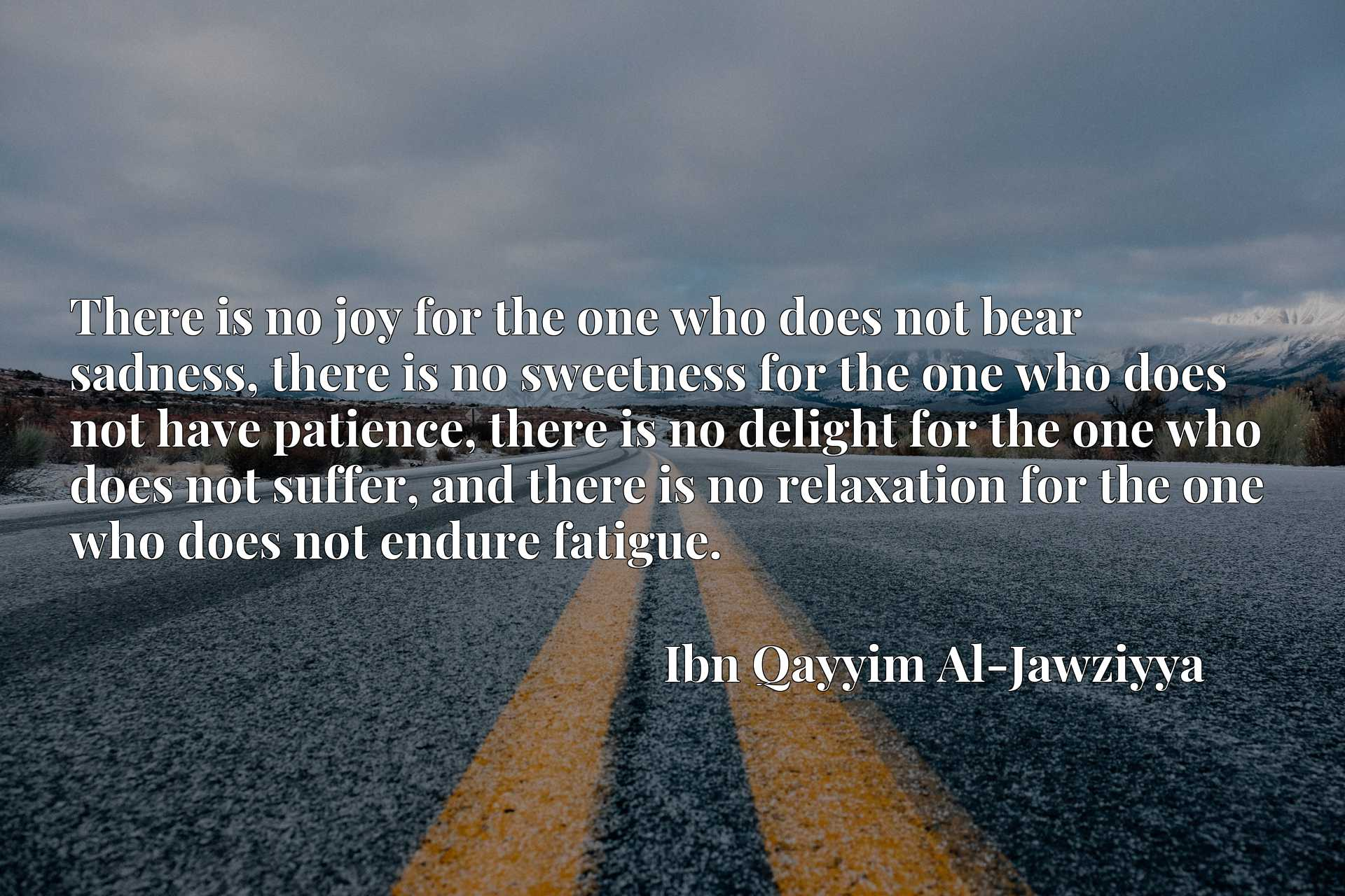 There is no joy for the one who does not bear sadness, there is no sweetness for the one who does not have patience, there is no delight for the one who does not suffer, and there is no relaxation for the one who does not endure fatigue.