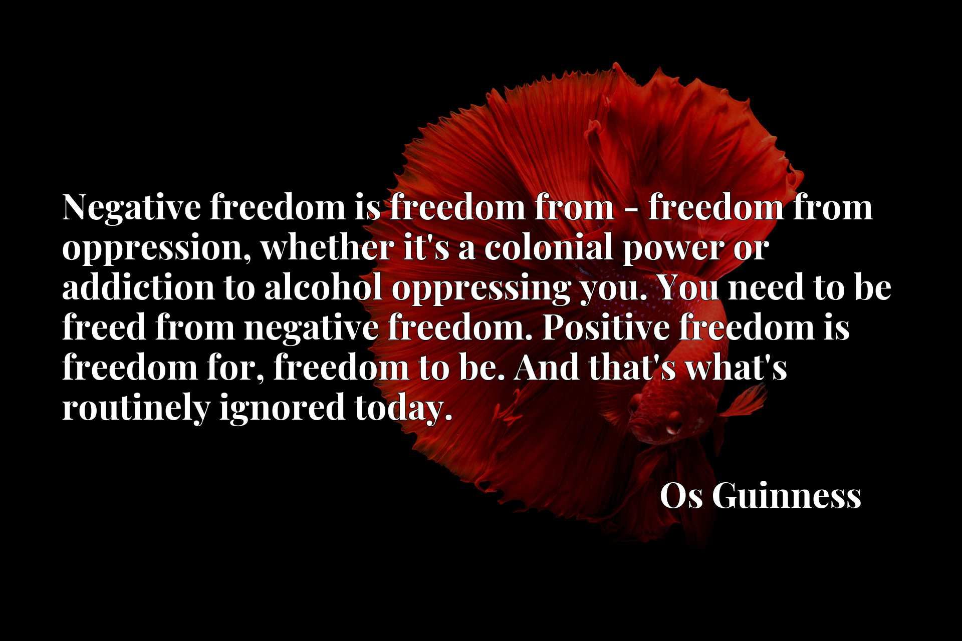 Negative freedom is freedom from - freedom from oppression, whether it's a colonial power or addiction to alcohol oppressing you. You need to be freed from negative freedom. Positive freedom is freedom for, freedom to be. And that's what's routinely ignored today.