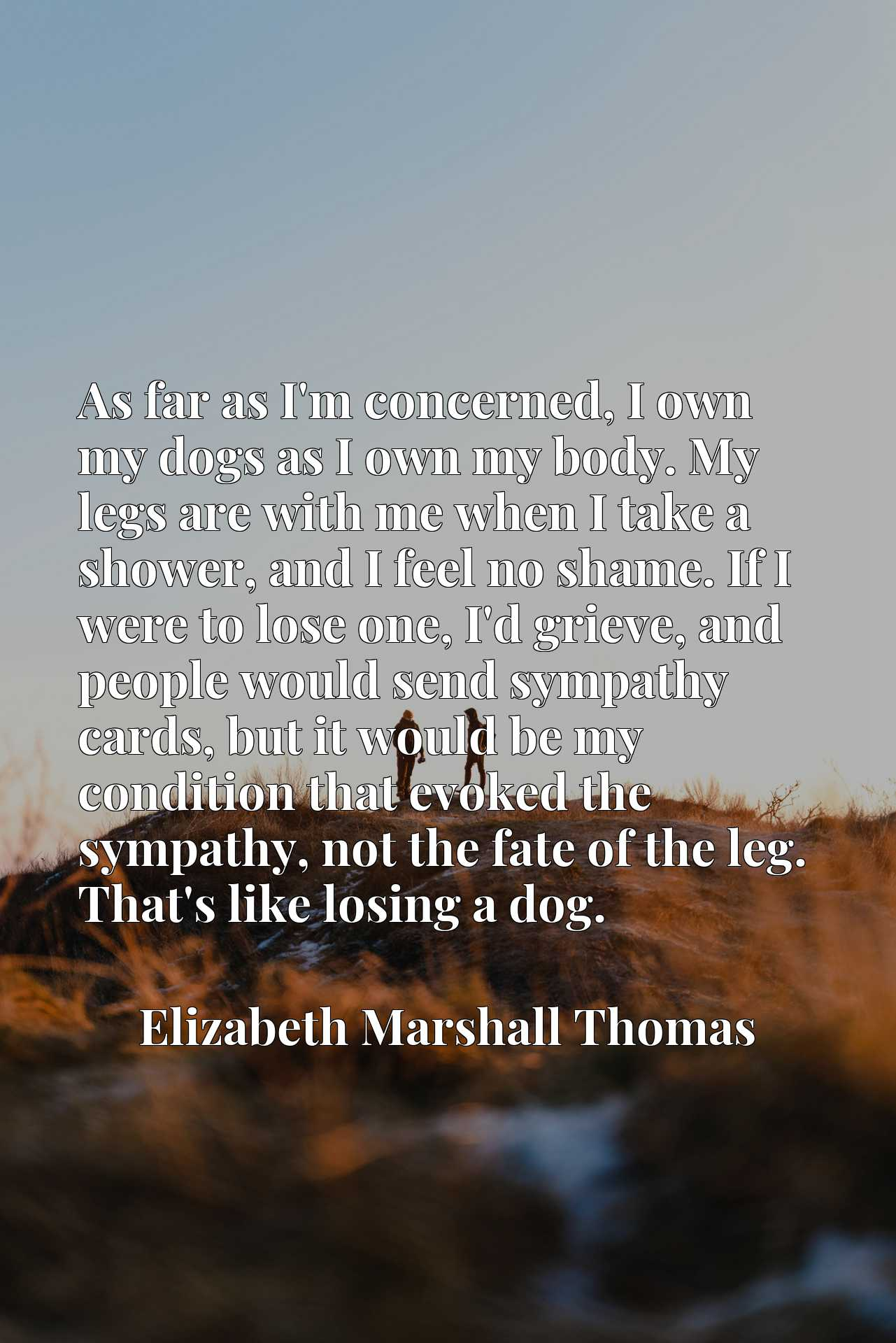 As far as I'm concerned, I own my dogs as I own my body. My legs are with me when I take a shower, and I feel no shame. If I were to lose one, I'd grieve, and people would send sympathy cards, but it would be my condition that evoked the sympathy, not the fate of the leg. That's like losing a dog.