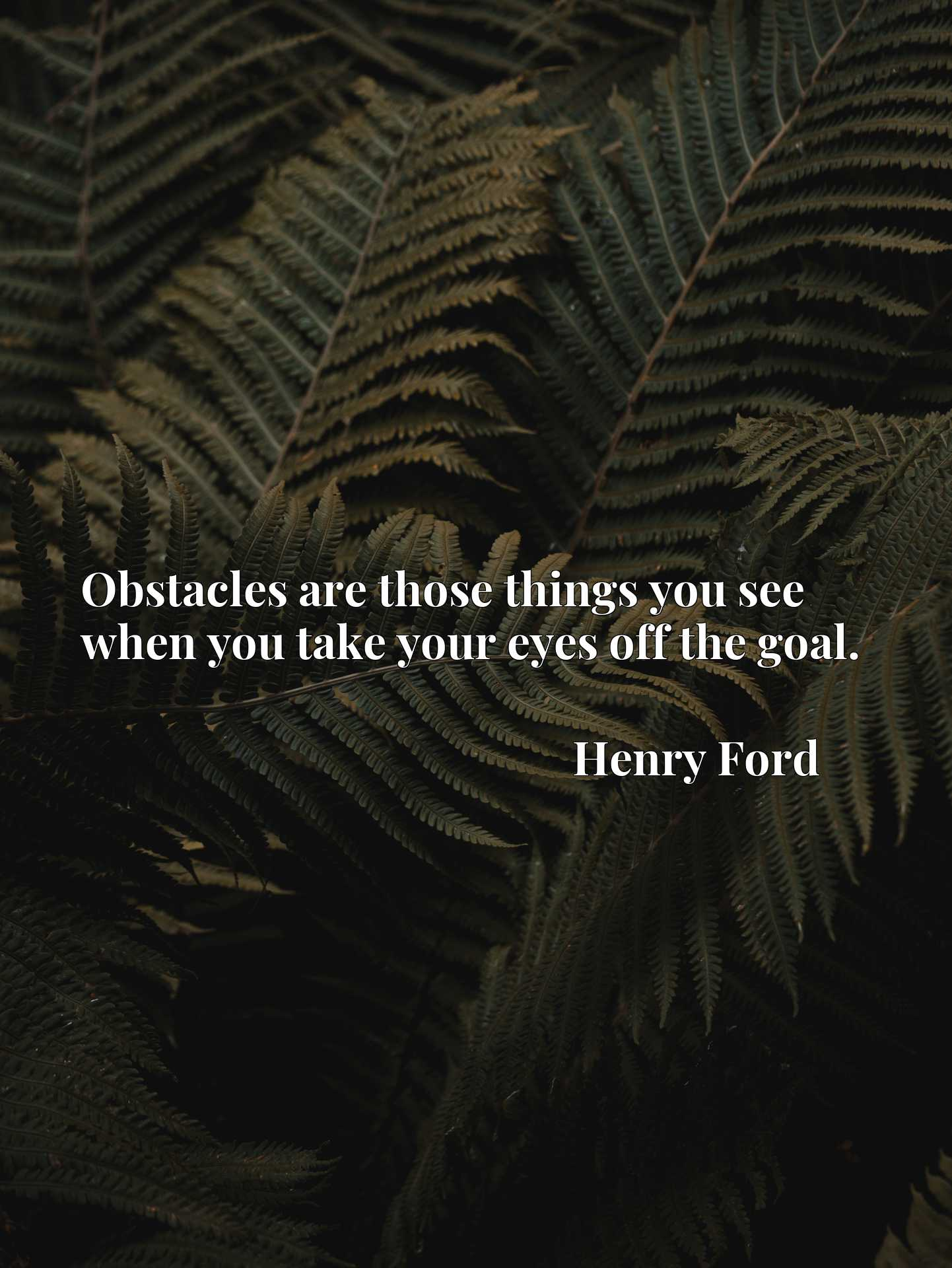 Obstacles are those things you see when you take your eyes off the goal.