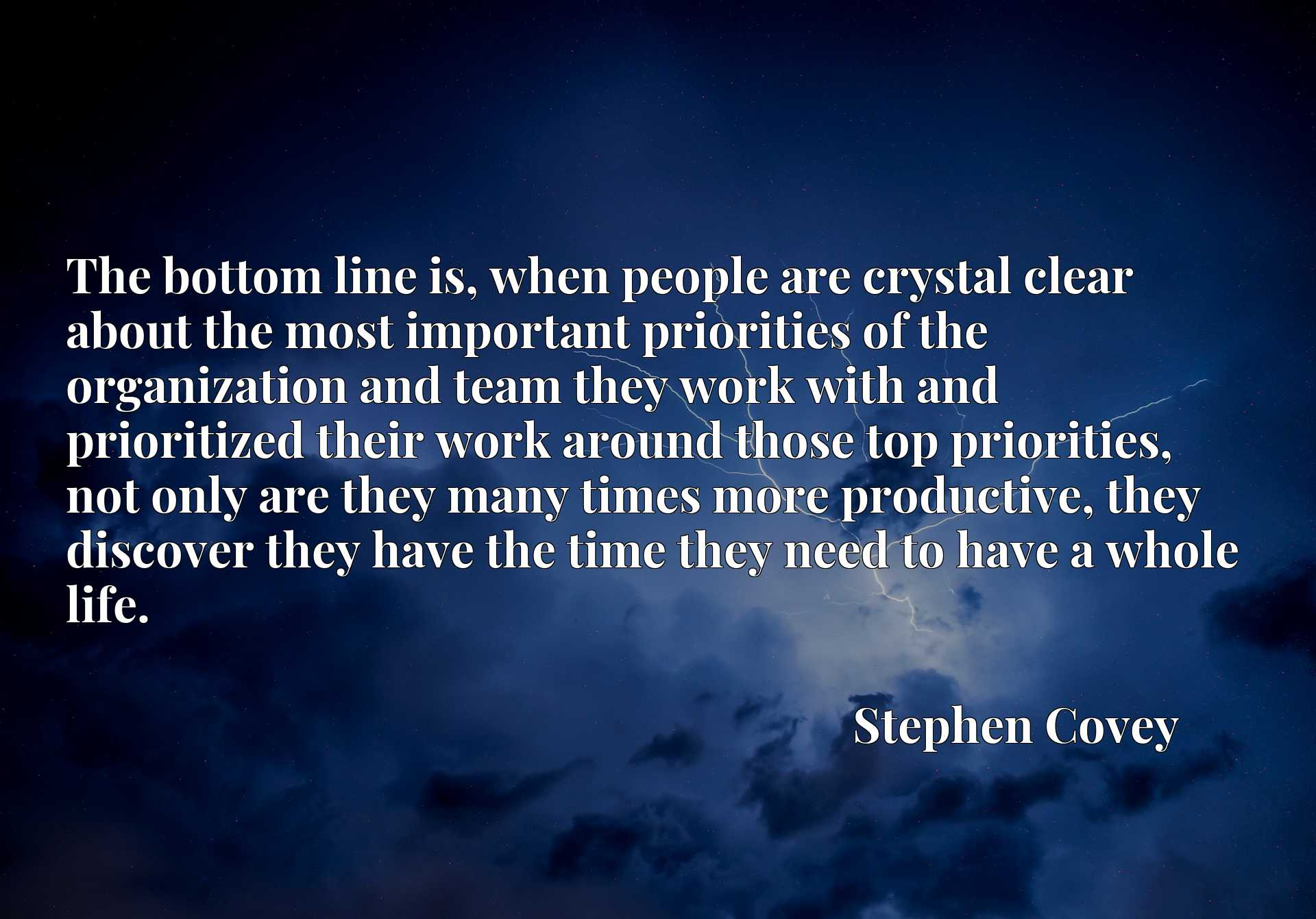 The bottom line is, when people are crystal clear about the most important priorities of the organization and team they work with and prioritized their work around those top priorities, not only are they many times more productive, they discover they have the time they need to have a whole life.
