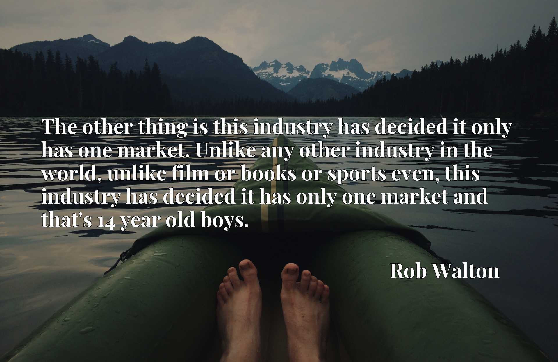 The other thing is this industry has decided it only has one market. Unlike any other industry in the world, unlike film or books or sports even, this industry has decided it has only one market and that's 14 year old boys.