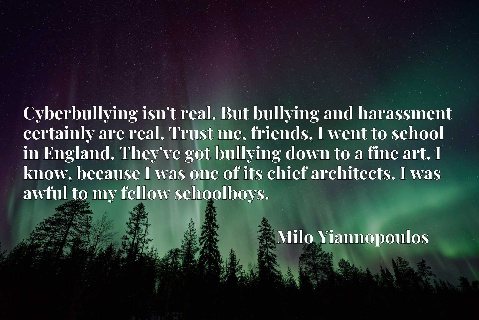 Cyberbullying isn't real. But bullying and harassment certainly are real. Trust me, friends, I went to school in England. They've got bullying down to a fine art. I know, because I was one of its chief architects. I was awful to my fellow schoolboys.