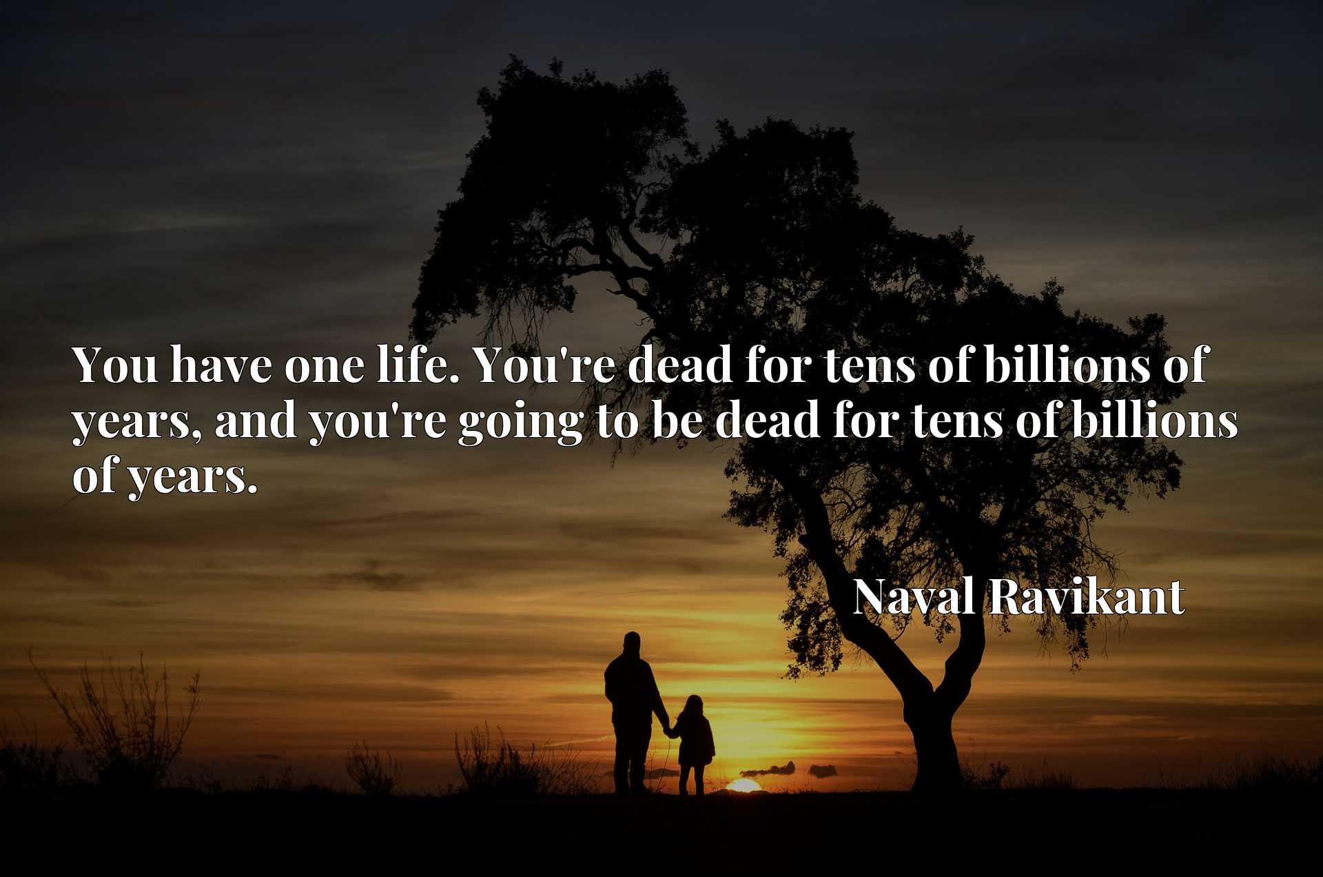 You have one life. You're dead for tens of billions of years, and you're going to be dead for tens of billions of years.
