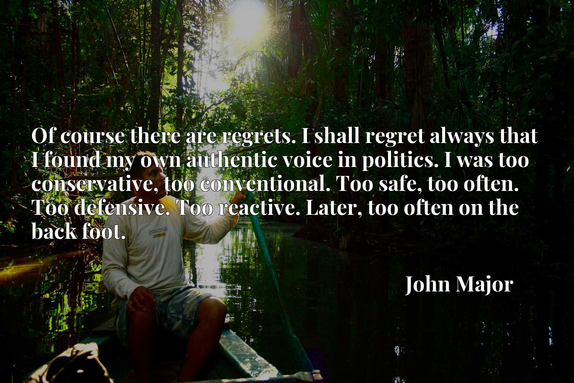 Of course there are regrets. I shall regret always that I found my own authentic voice in politics. I was too conservative, too conventional. Too safe, too often. Too defensive. Too reactive. Later, too often on the back foot.