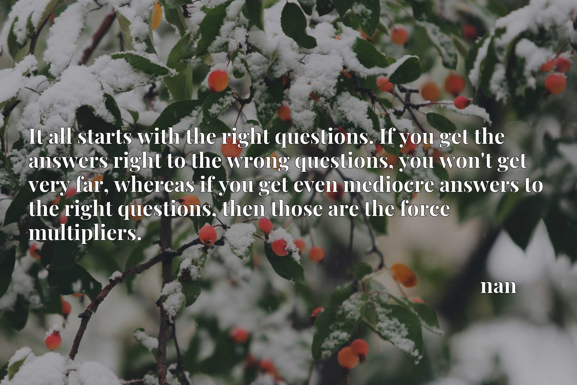 It all starts with the right questions. If you get the answers right to the wrong questions, you won't get very far, whereas if you get even mediocre answers to the right questions, then those are the force multipliers.