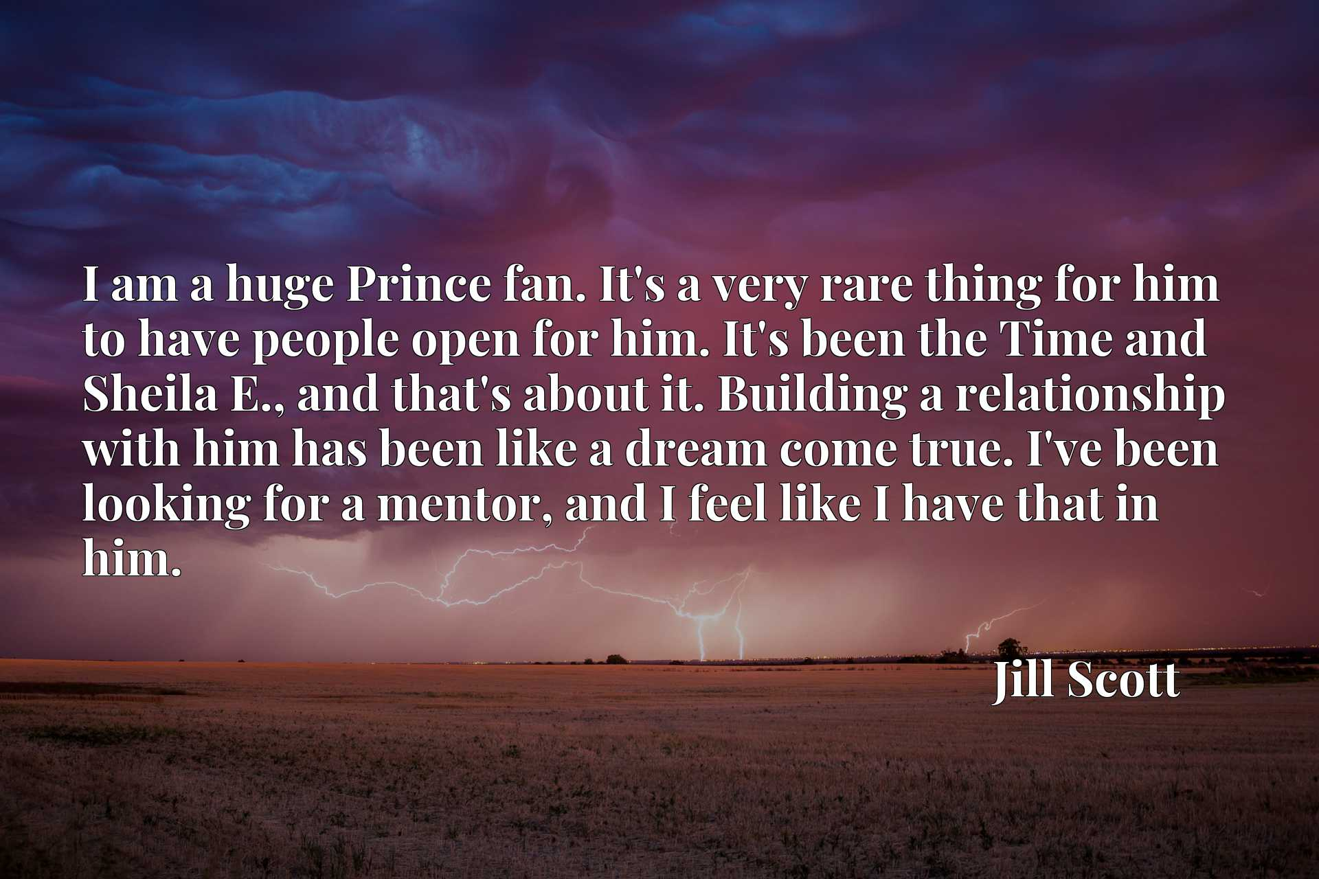 I am a huge Prince fan. It's a very rare thing for him to have people open for him. It's been the Time and Sheila E., and that's about it. Building a relationship with him has been like a dream come true. I've been looking for a mentor, and I feel like I have that in him.