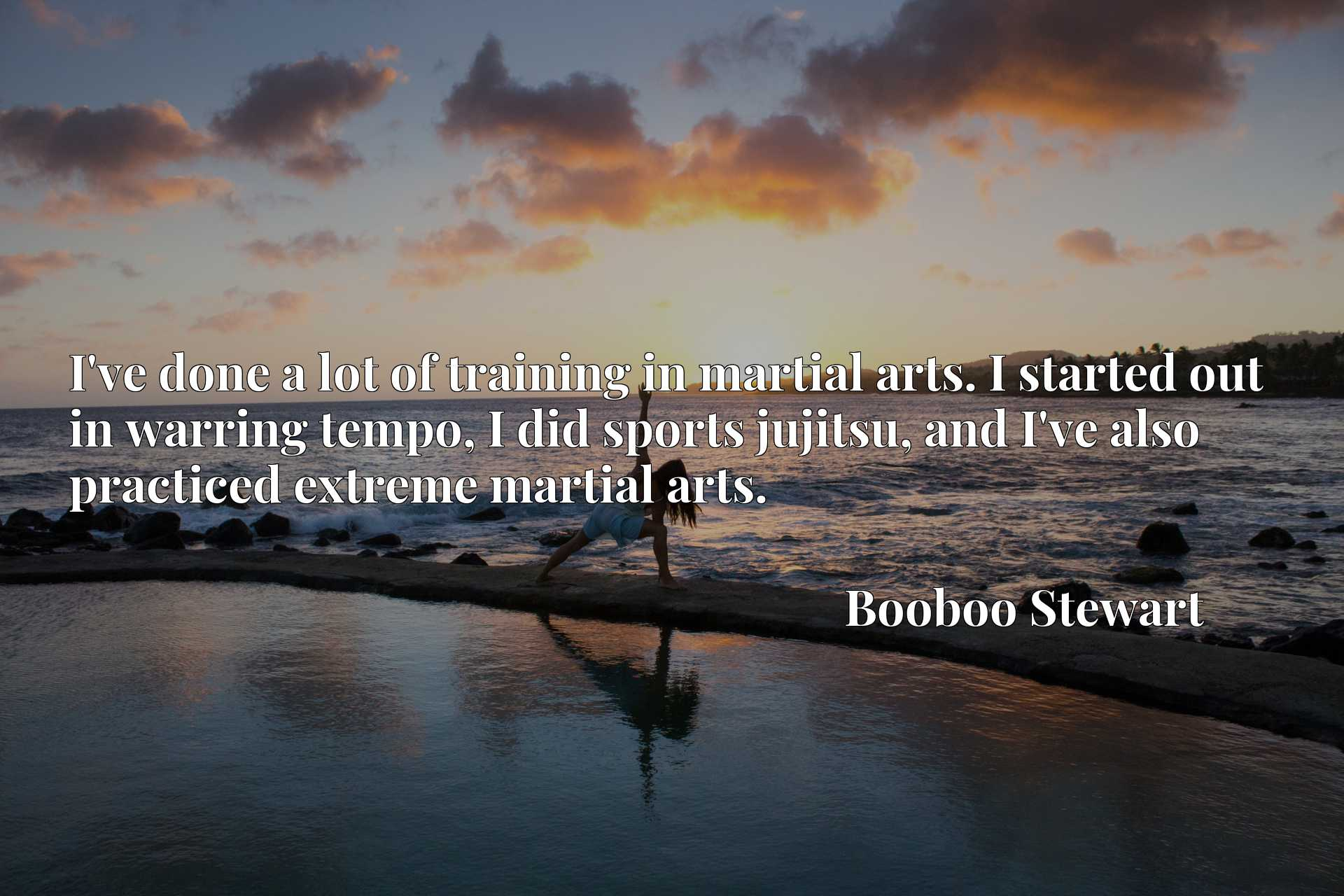 Quote Picture :I've done a lot of training in martial arts. I started out in warring tempo, I did sports jujitsu, and I've also practiced extreme martial arts.