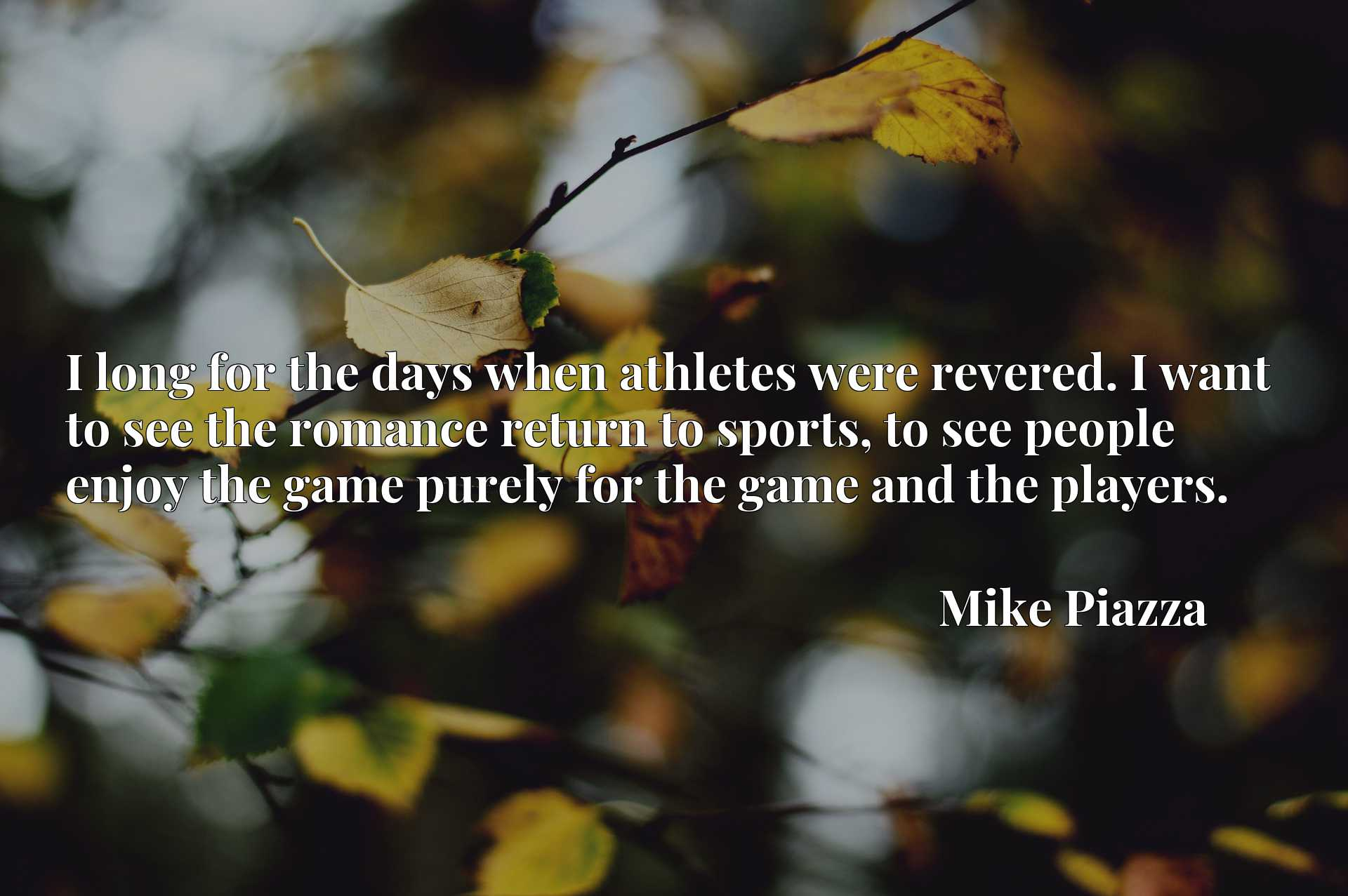 Quote Picture :I long for the days when athletes were revered. I want to see the romance return to sports, to see people enjoy the game purely for the game and the players.