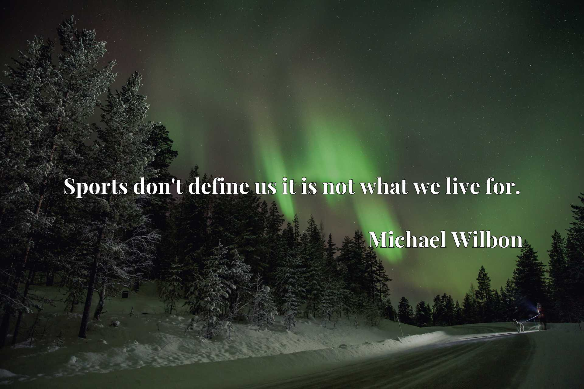 Quote Picture :Sports don't define us it is not what we live for.
