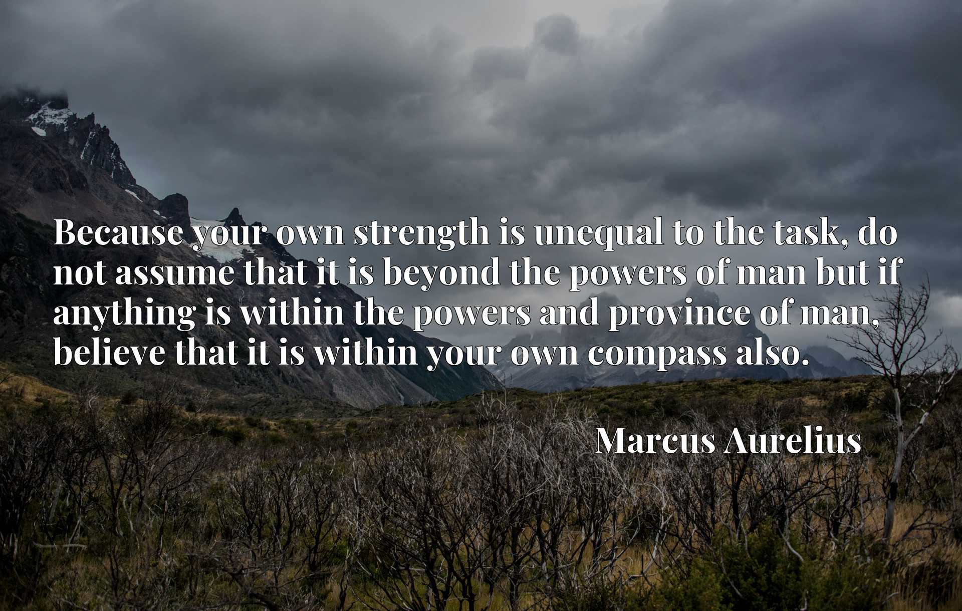 Quote Picture :Because your own strength is unequal to the task, do not assume that it is beyond the powers of man but if anything is within the powers and province of man, believe that it is within your own compass also.