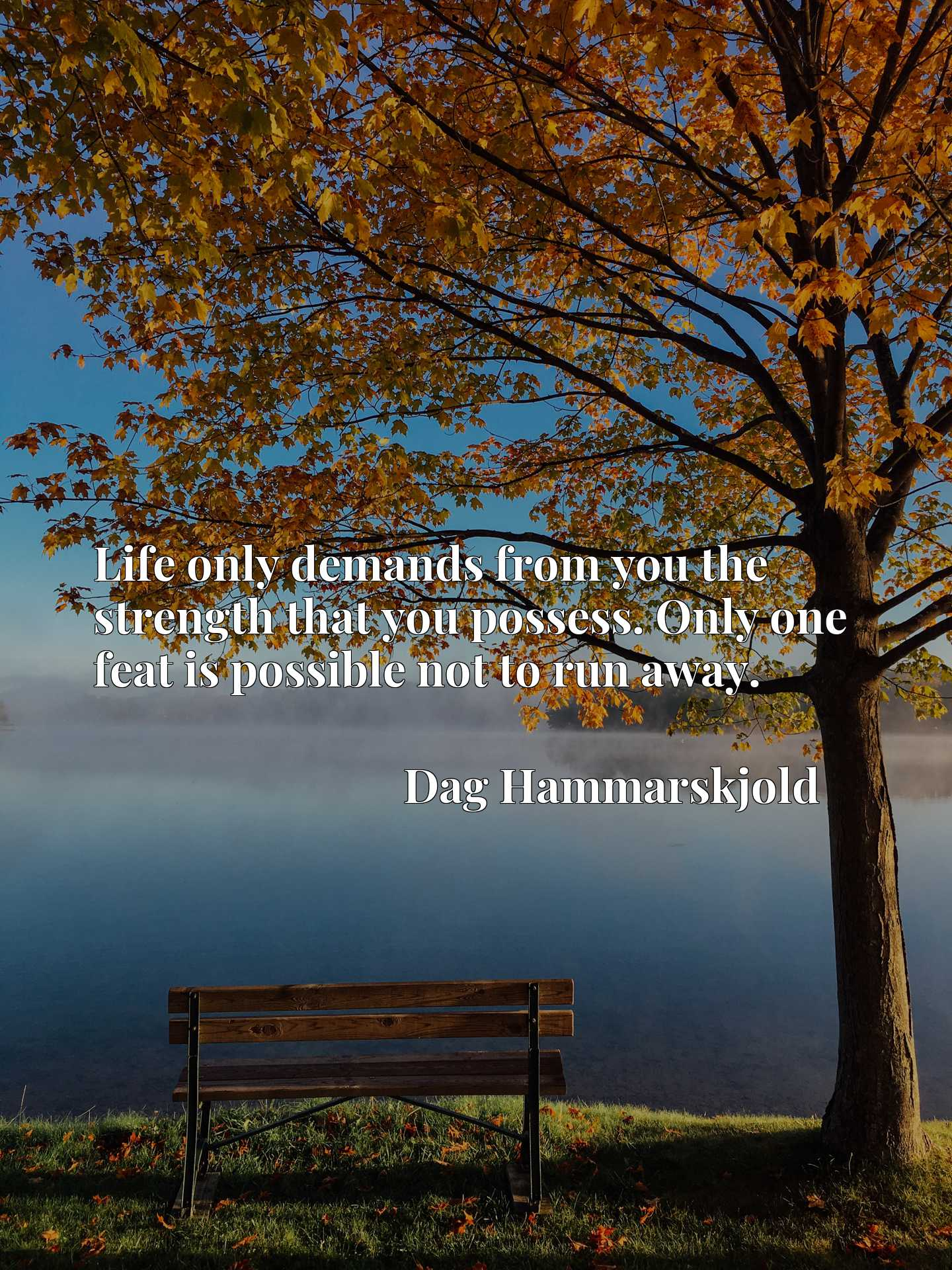 Quote Picture :Life only demands from you the strength that you possess. Only one feat is possible not to run away.