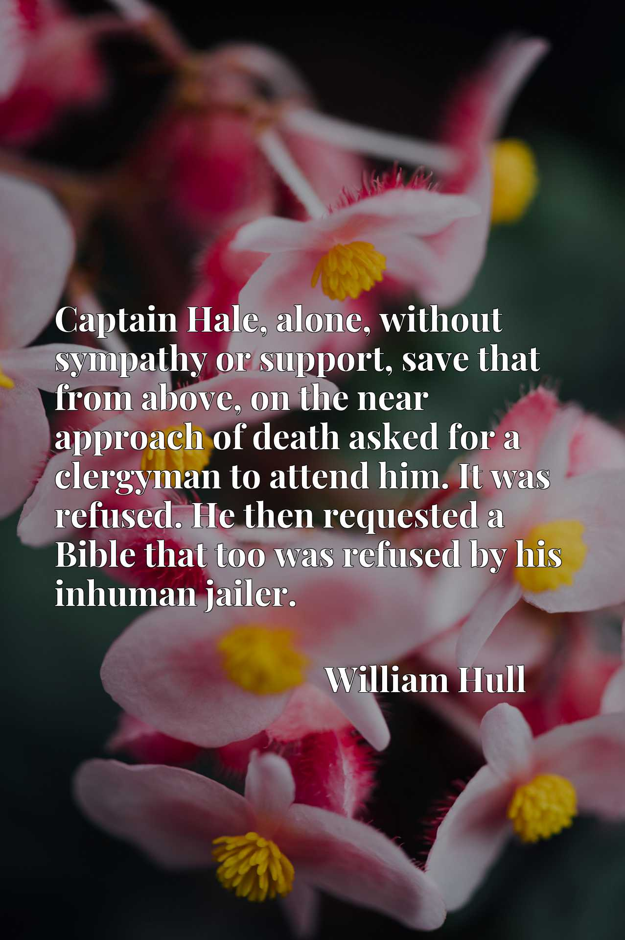 Quote Picture :Captain Hale, alone, without sympathy or support, save that from above, on the near approach of death asked for a clergyman to attend him. It was refused. He then requested a Bible that too was refused by his inhuman jailer.