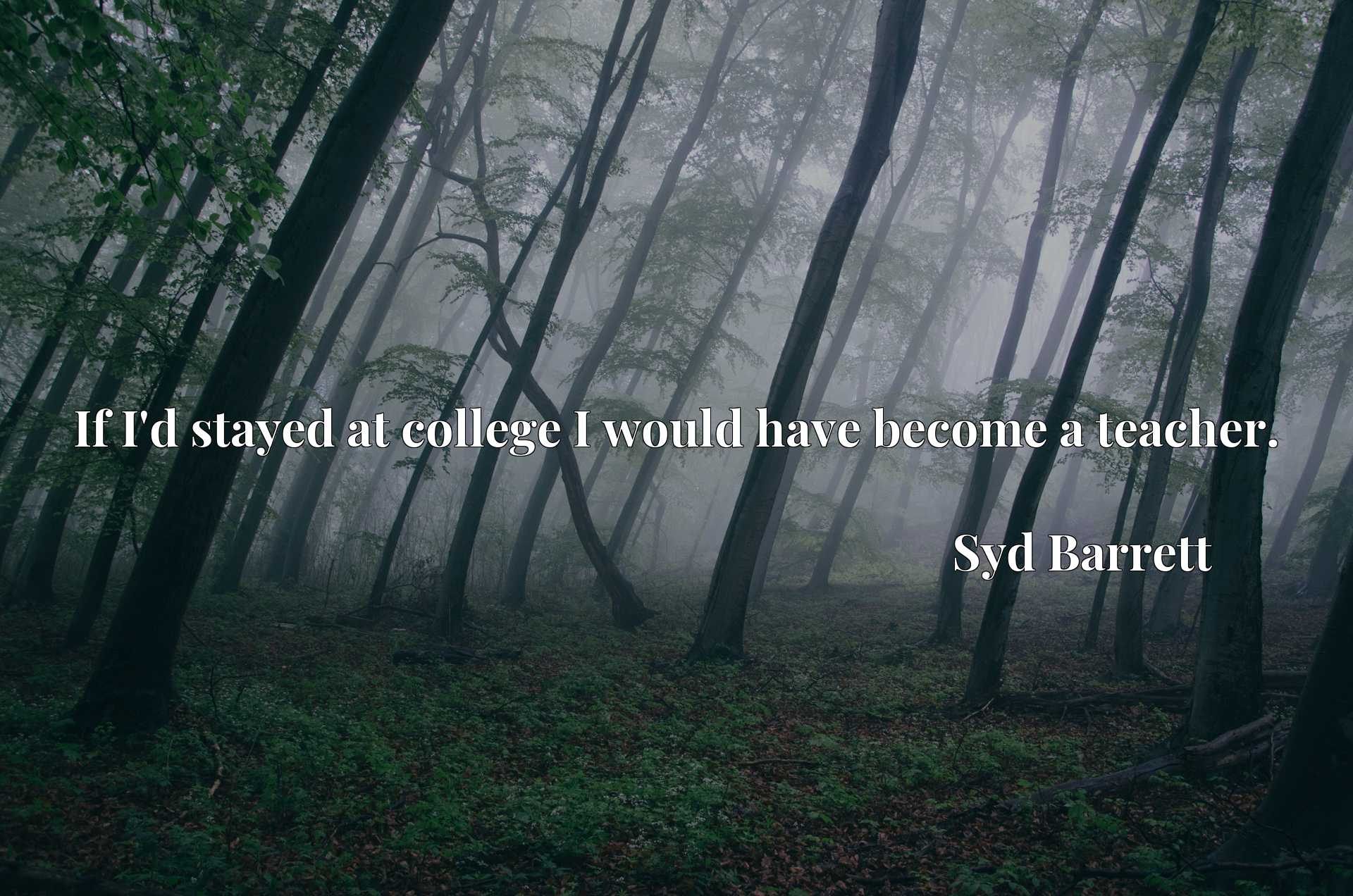 Quote Picture :If I'd stayed at college I would have become a teacher.