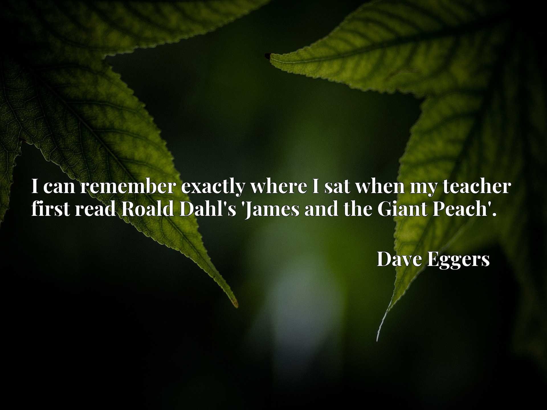Quote Picture :I can remember exactly where I sat when my teacher first read Roald Dahl's 'James and the Giant Peach'.