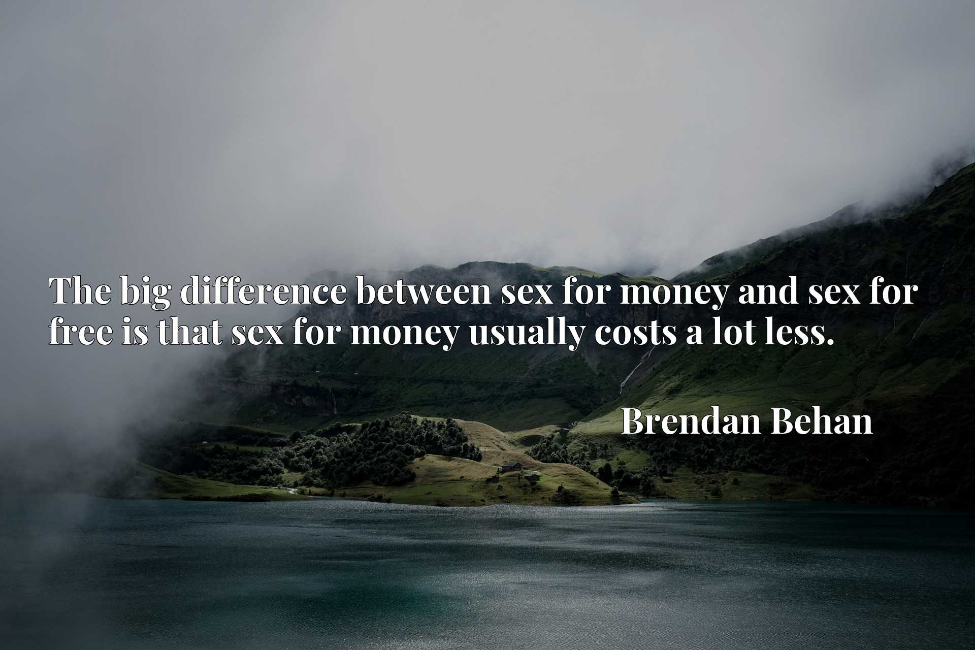 Quote Picture :The big difference between sex for money and sex for free is that sex for money usually costs a lot less.