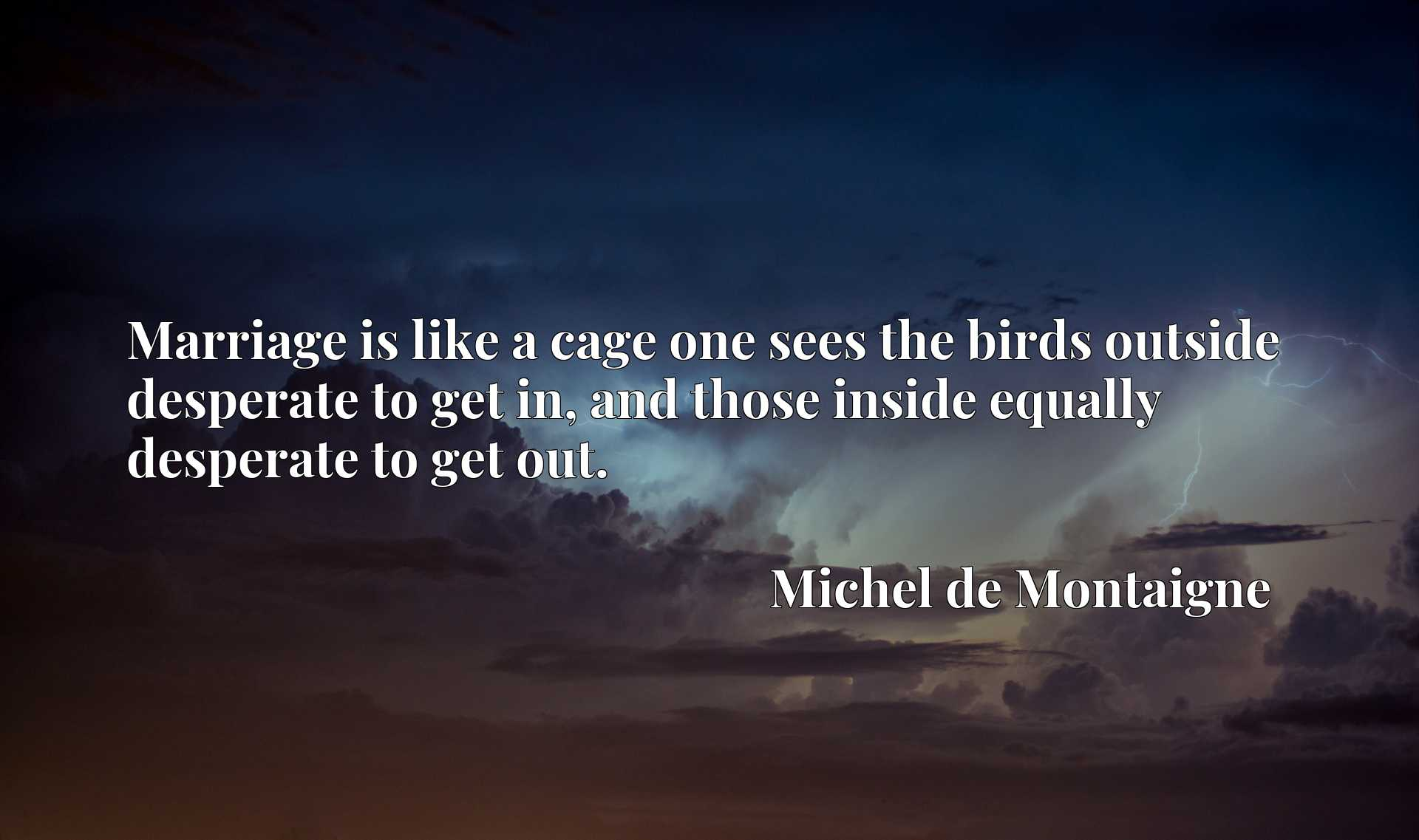 Quote Picture :Marriage is like a cage one sees the birds outside desperate to get in, and those inside equally desperate to get out.