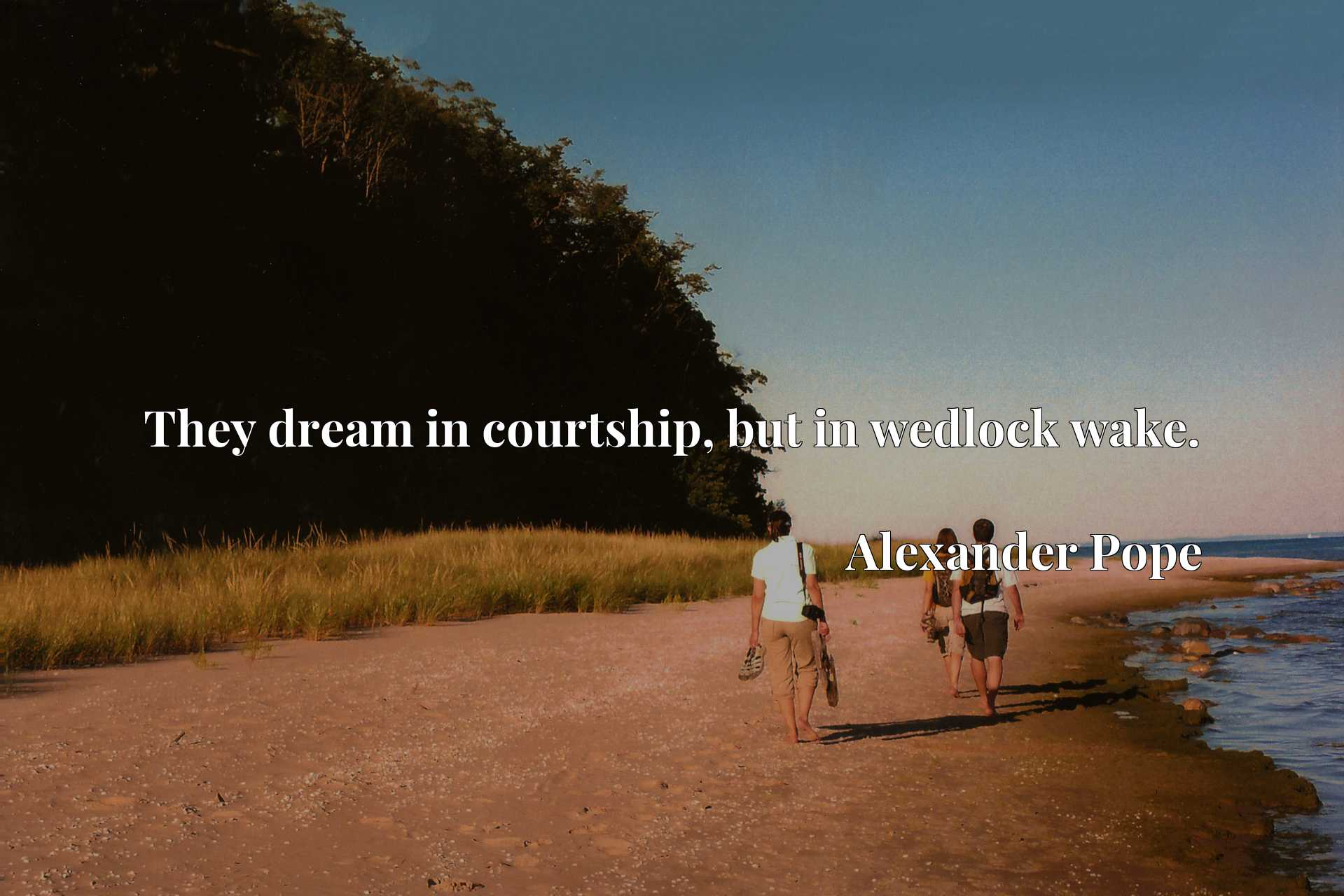 Quote Picture :They dream in courtship, but in wedlock wake.