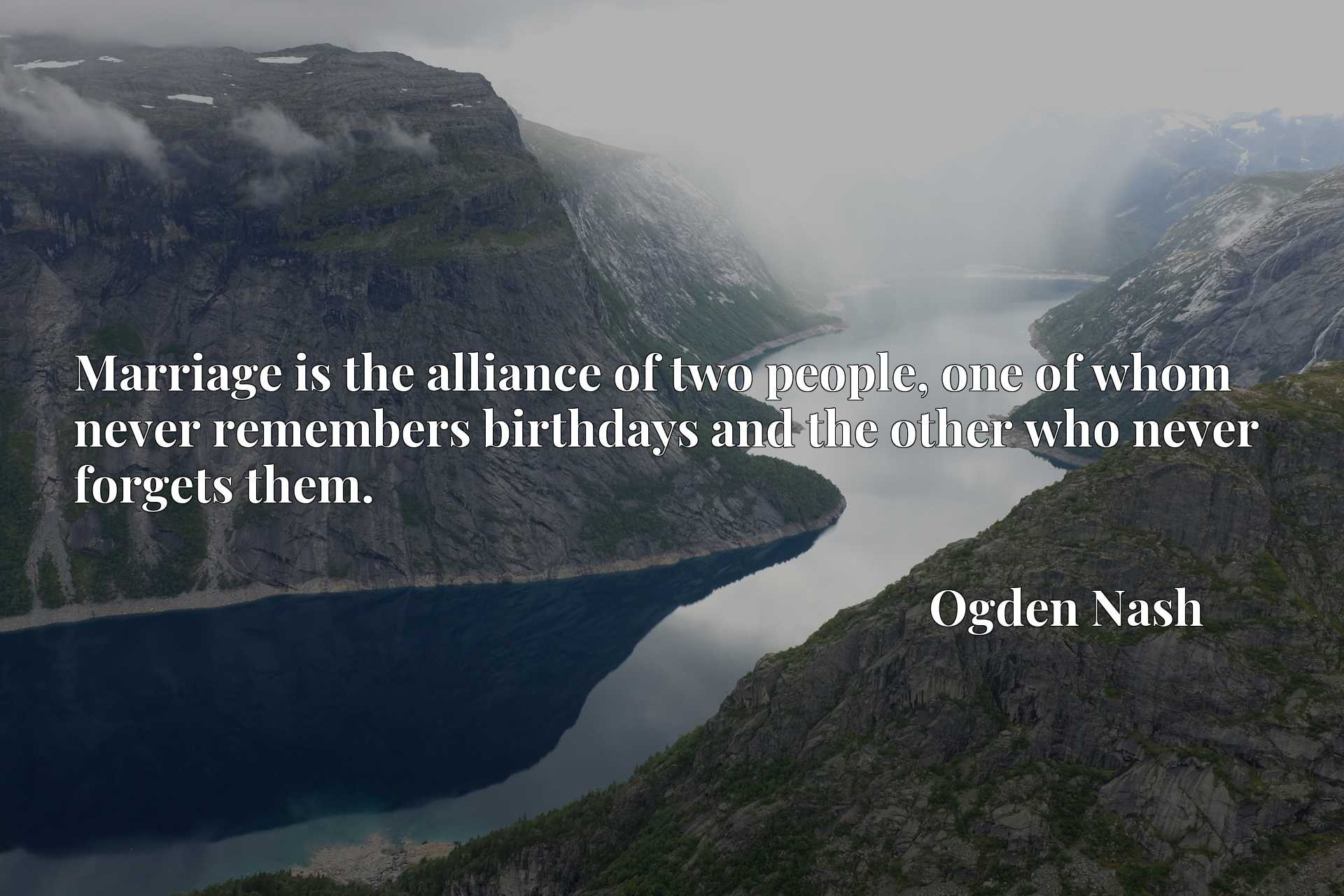 Quote Picture :Marriage is the alliance of two people, one of whom never remembers birthdays and the other who never forgets them.