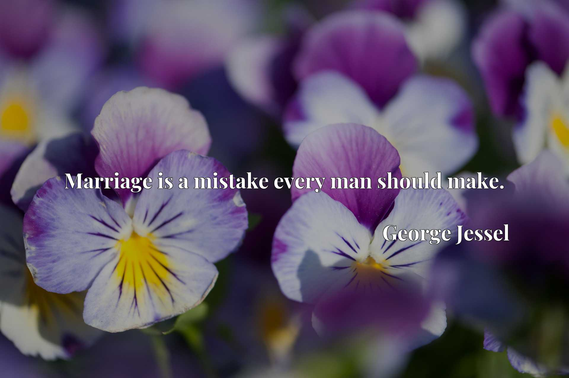 Quote Picture :Marriage is a mistake every man should make.