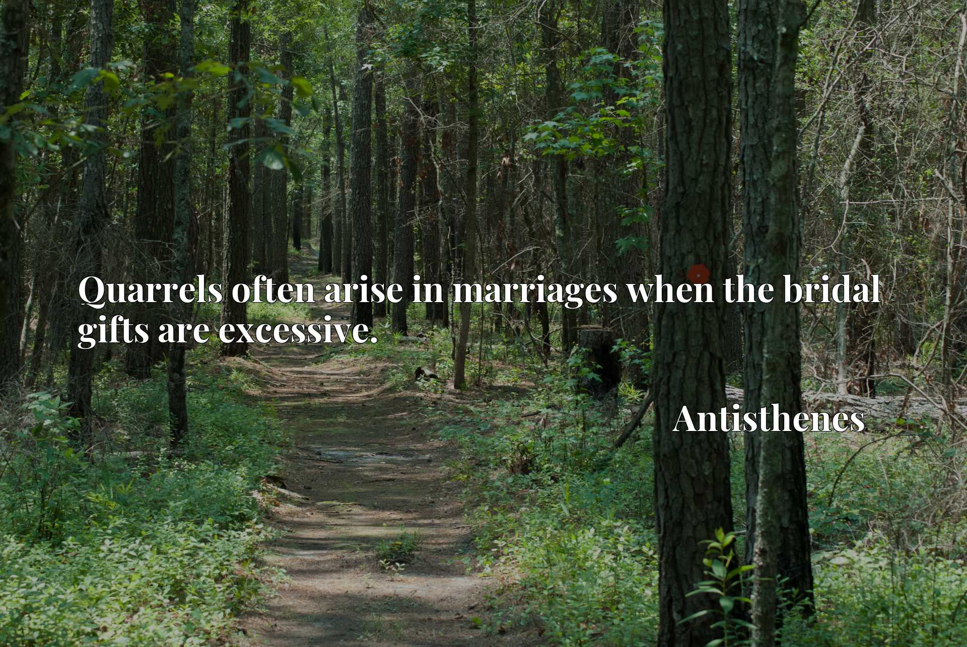 Quote Picture :Quarrels often arise in marriages when the bridal gifts are excessive.