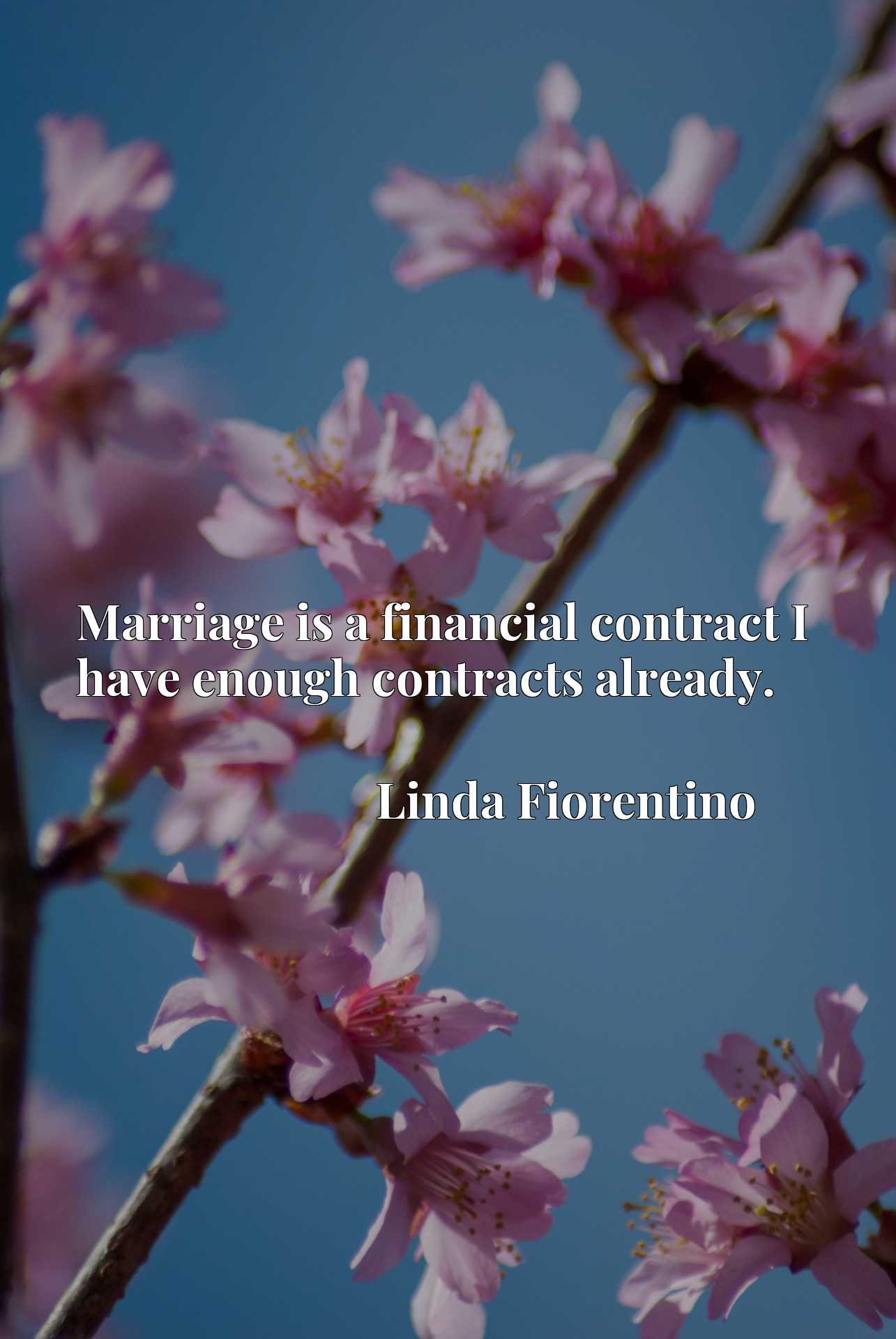 Quote Picture :Marriage is a financial contract I have enough contracts already.