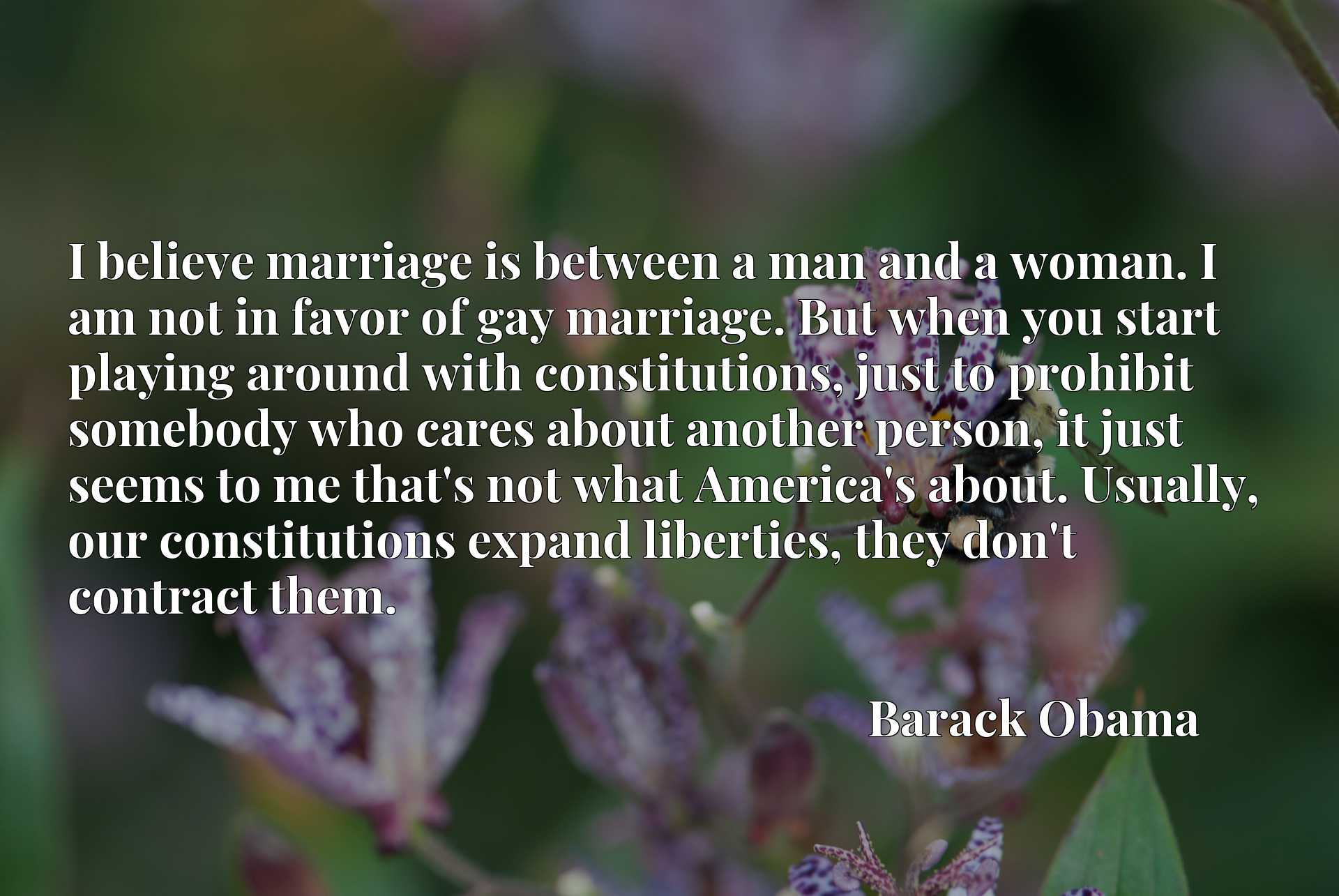 I believe marriage is between a man and a woman. I am not in favor of gay marriage. But when you start playing around with constitutions, just to prohibit somebody who cares about another person, it just seems to me that's not what America's about. Usually, our constitutions expand liberties, they don't contract them.