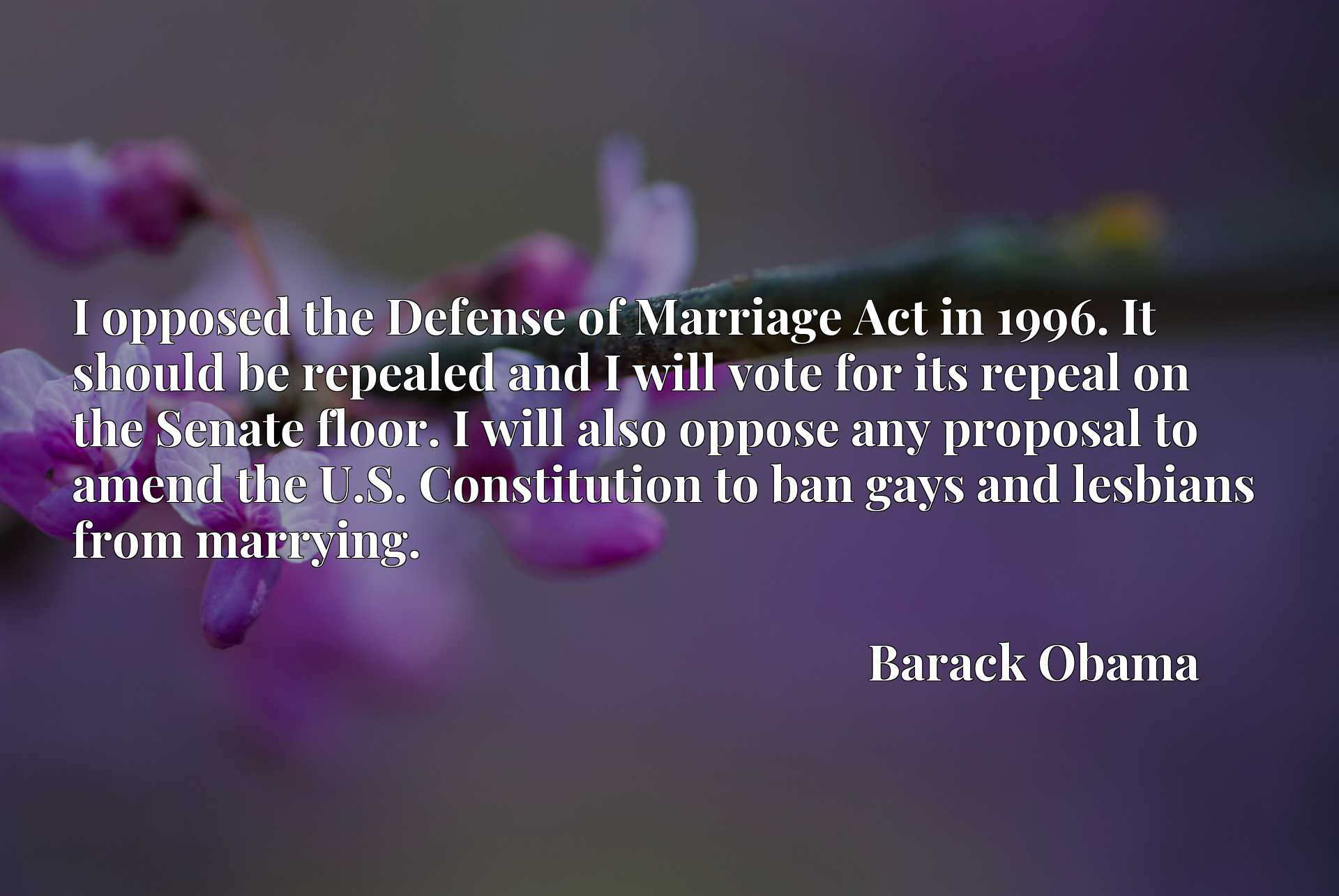 Quote Picture :I opposed the Defense of Marriage Act in 1996. It should be repealed and I will vote for its repeal on the Senate floor. I will also oppose any proposal to amend the U.S. Constitution to ban gays and lesbians from marrying.