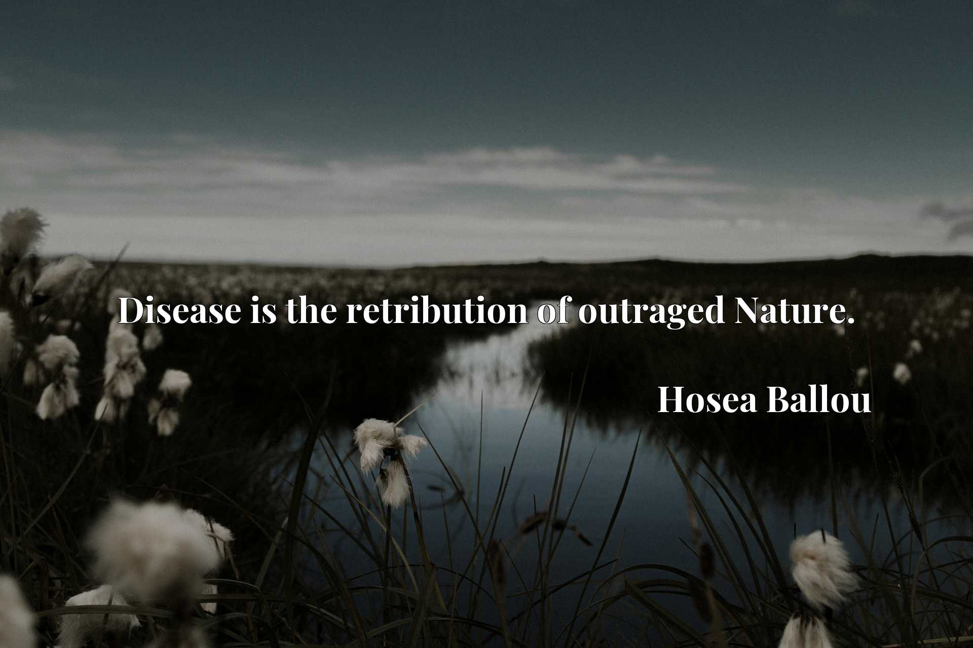 Quote Picture :Disease is the retribution of outraged Nature.