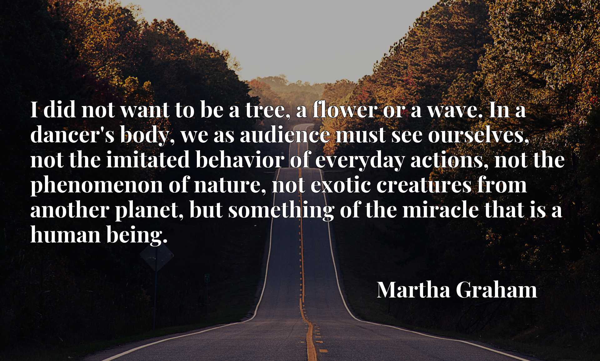 Quote Picture :I did not want to be a tree, a flower or a wave. In a dancer's body, we as audience must see ourselves, not the imitated behavior of everyday actions, not the phenomenon of nature, not exotic creatures from another planet, but something of the miracle that is a human being.