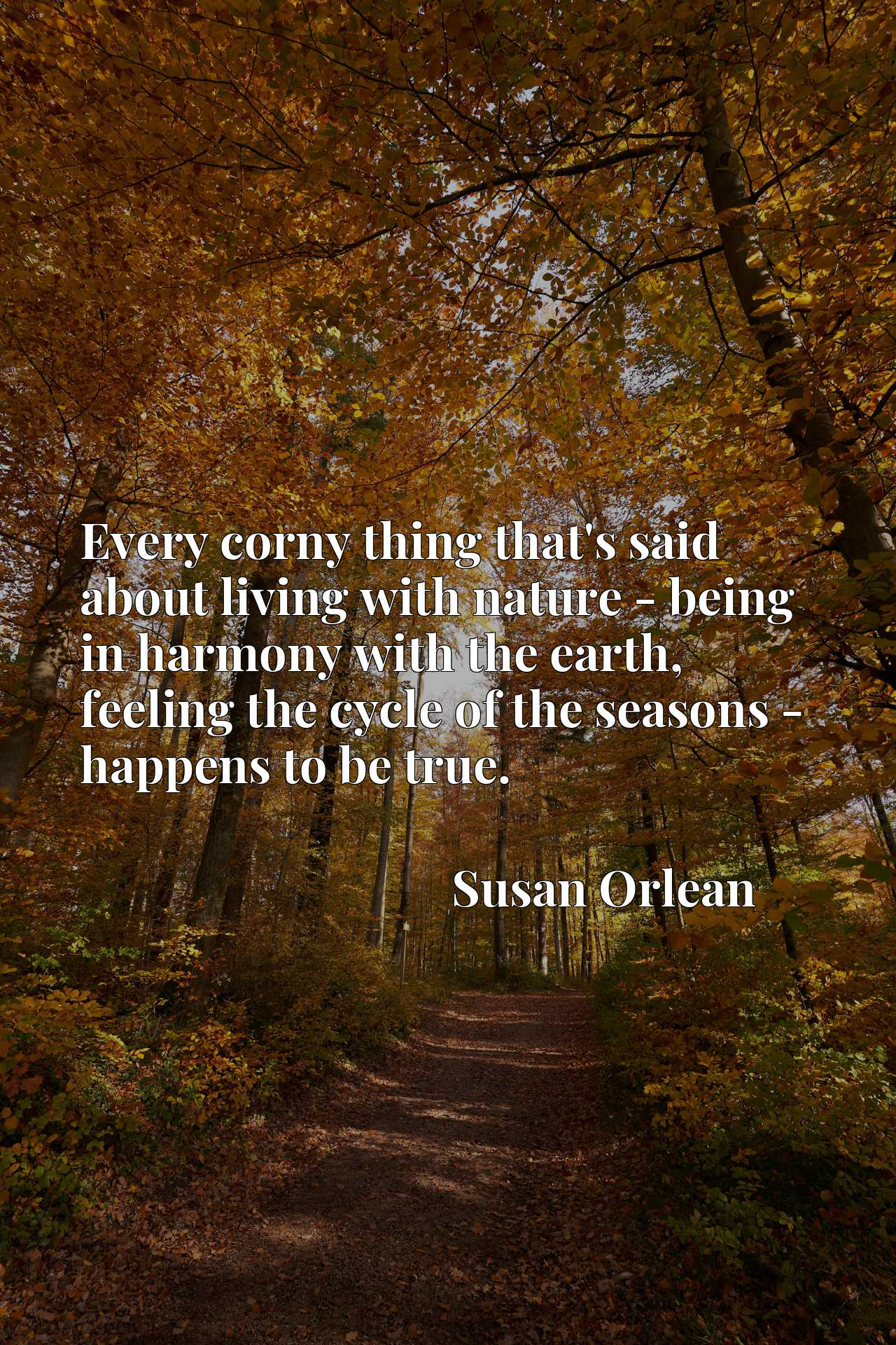 Quote Picture :Every corny thing that's said about living with nature - being in harmony with the earth, feeling the cycle of the seasons - happens to be true.