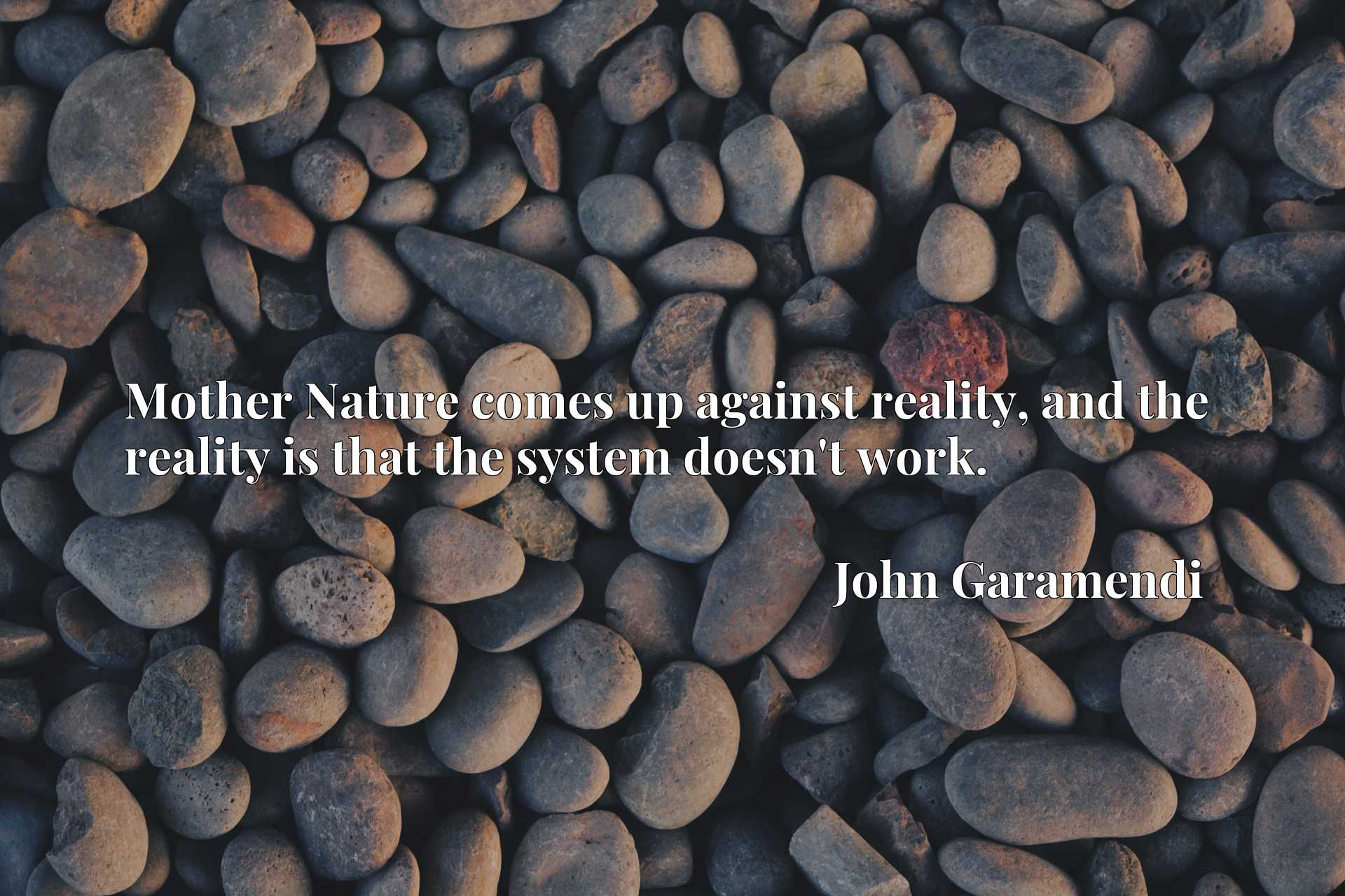 Quote Picture :Mother Nature comes up against reality, and the reality is that the system doesn't work.